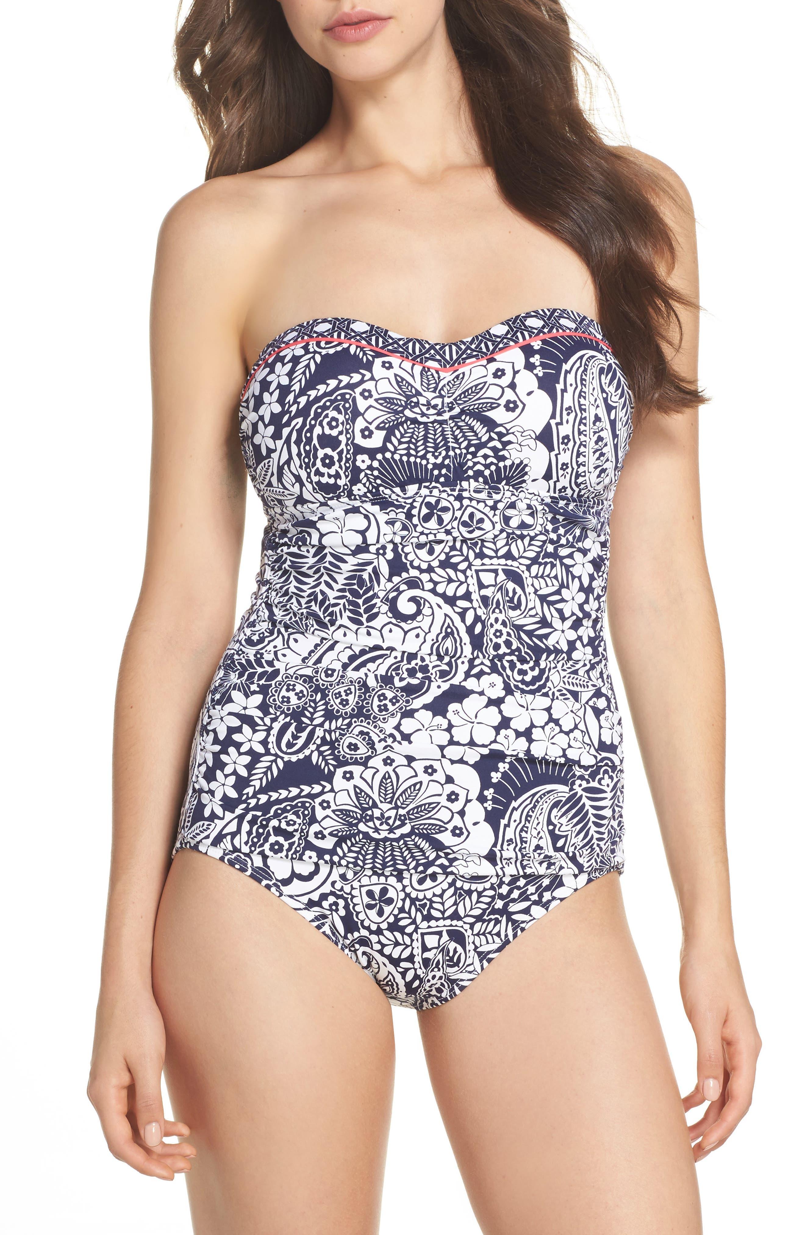Paisley Paradise Bandeau One-Piece Swimsuit,                         Main,                         color, Mare Navy