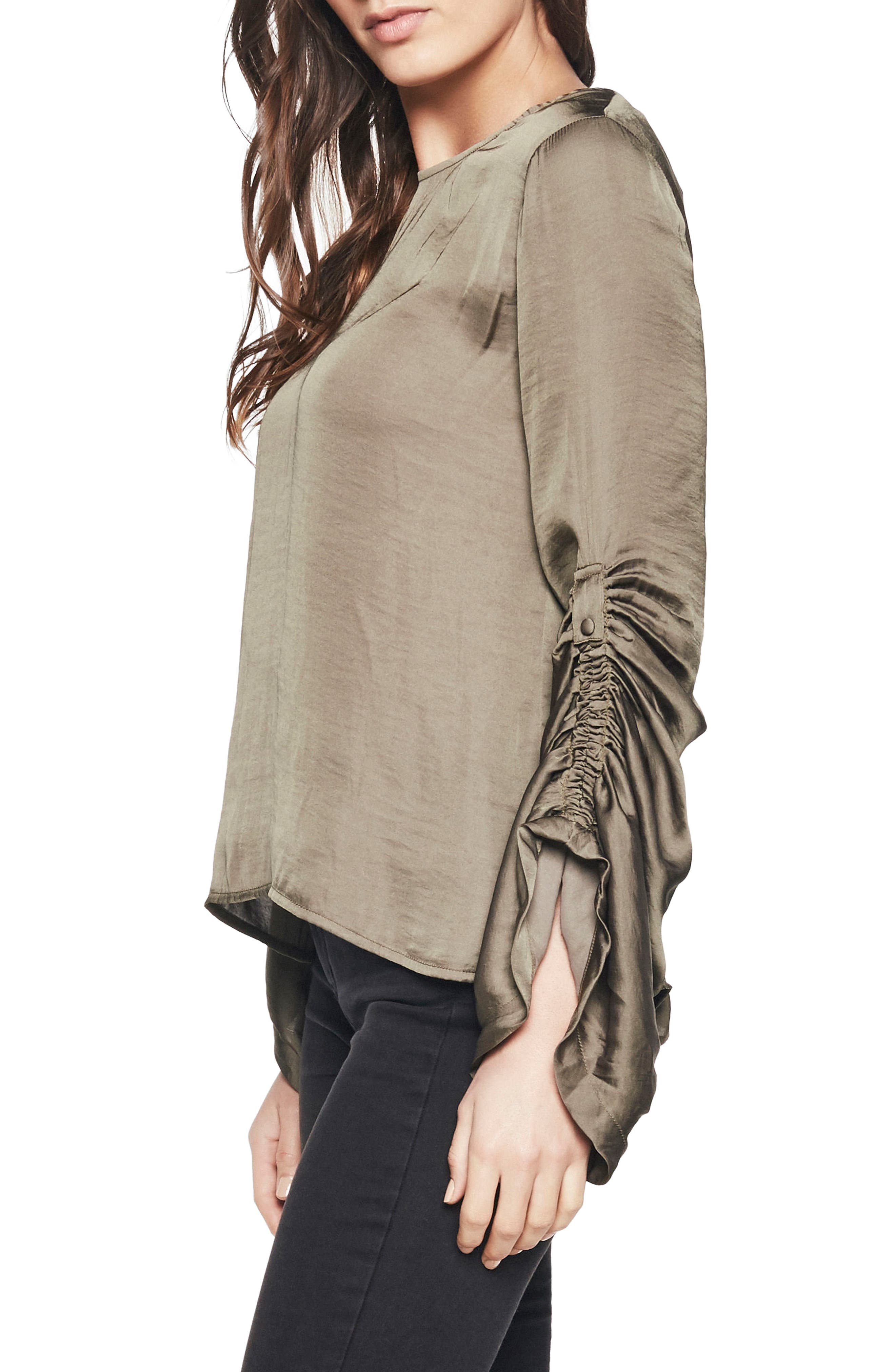 Lulu Ruched Sleeve Top,                             Alternate thumbnail 3, color,                             Khaki