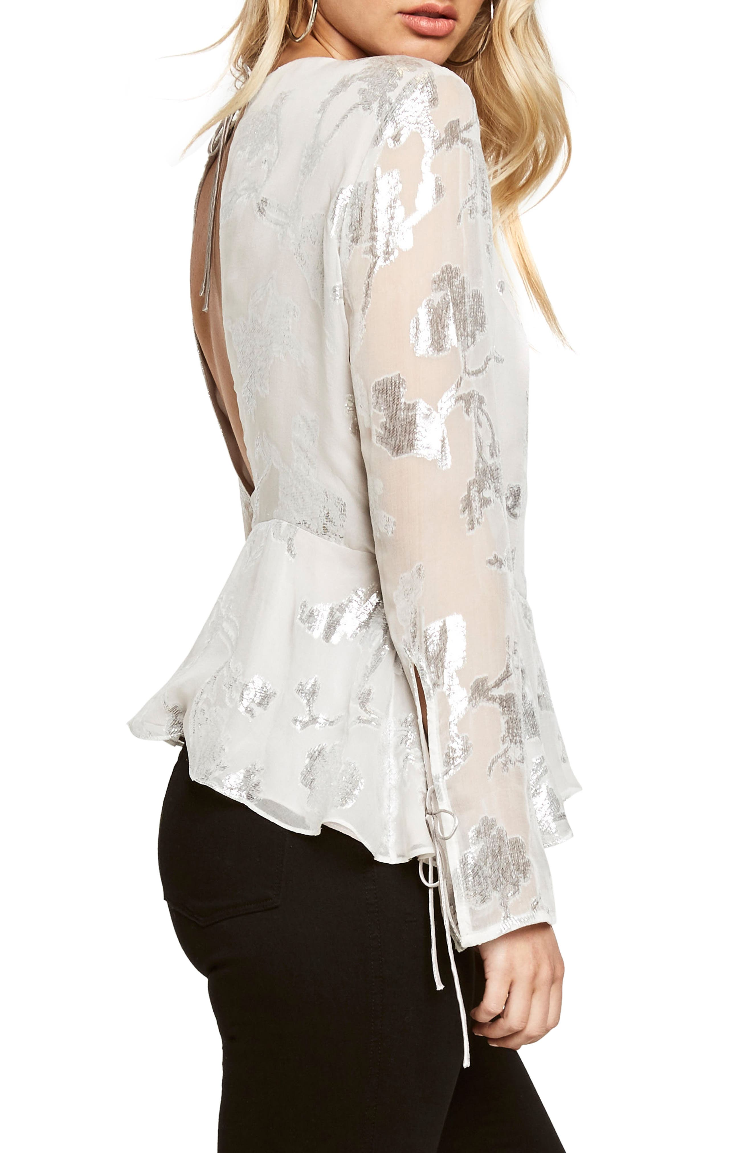 Alternate Image 3  - Bardot Metallic Cutout Silk Blend Blouse