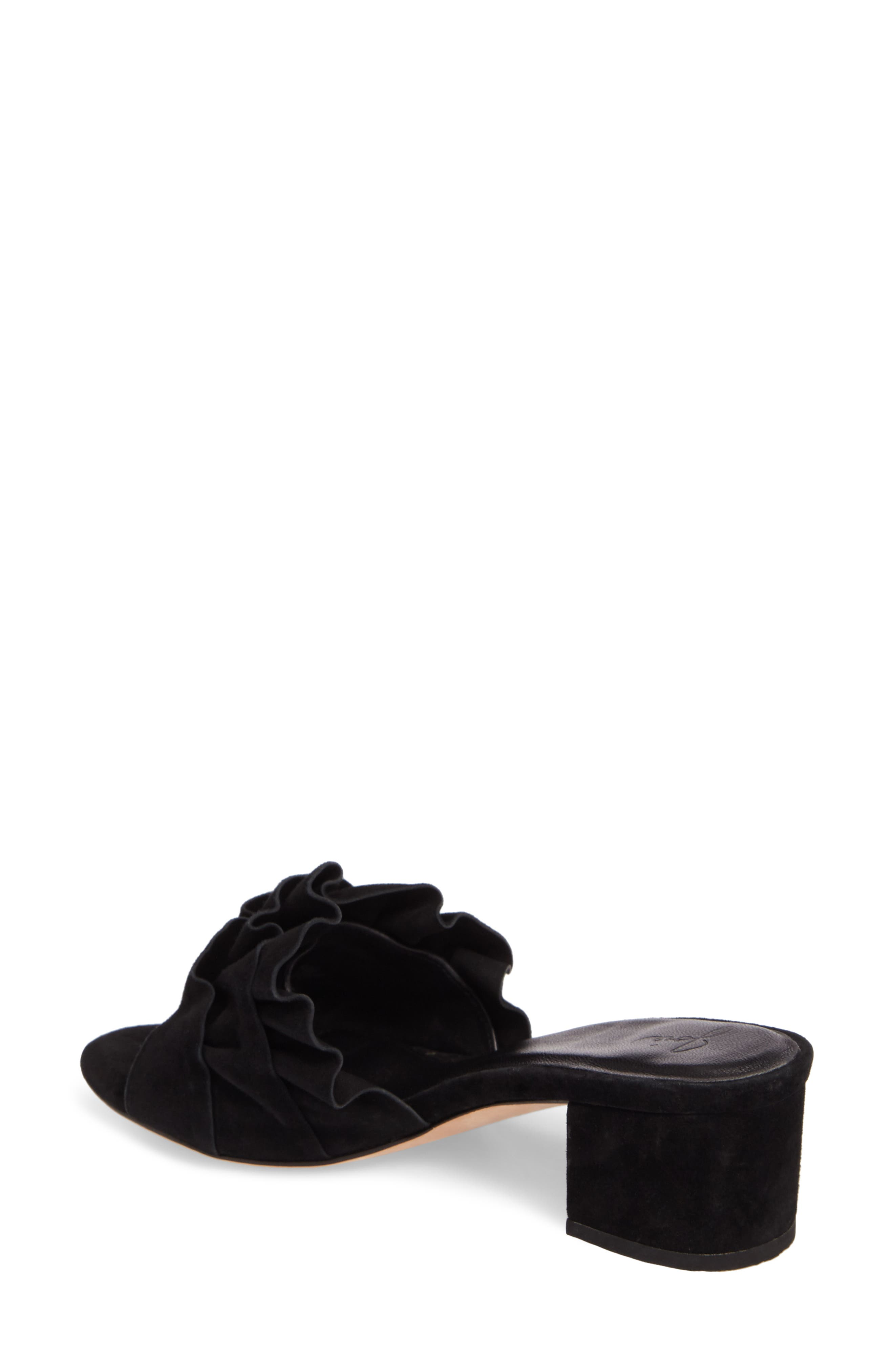 Mai Ruffle Slide Sandal,                             Alternate thumbnail 2, color,                             Black