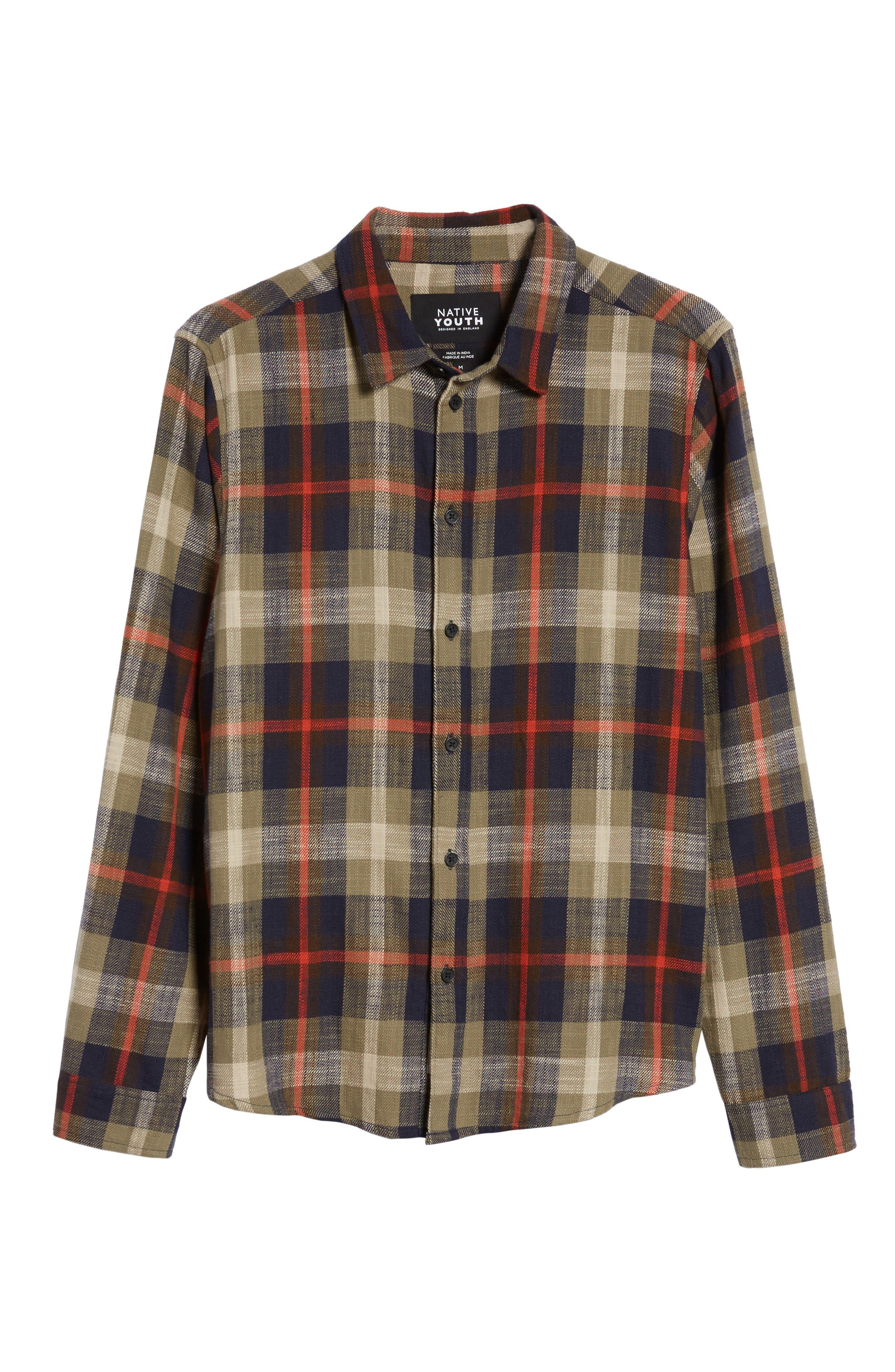 Brae Plaid Flannel Shirt,                             Alternate thumbnail 6, color,                             Green Check