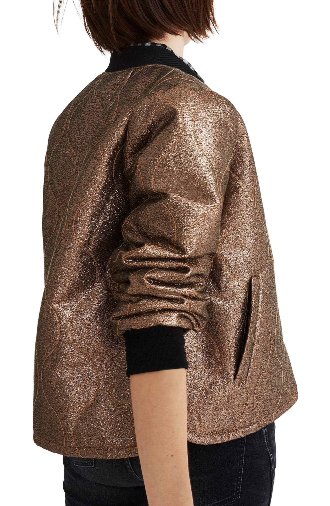 Alternate Image 2  - Madewell Metallic Quilted Military Jacket