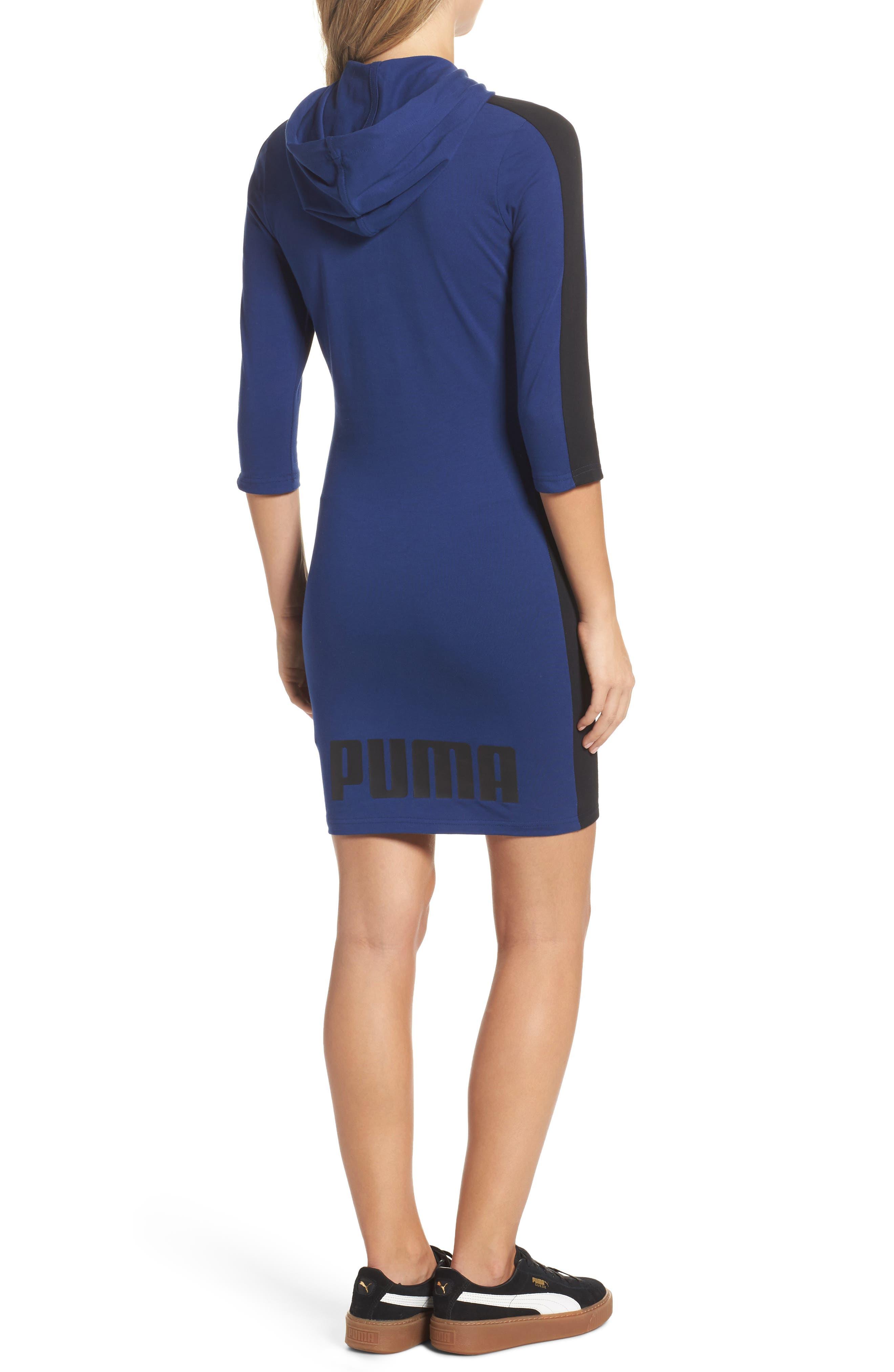 T7 Sweatshirt Dress,                             Alternate thumbnail 2, color,                             Blue Depths