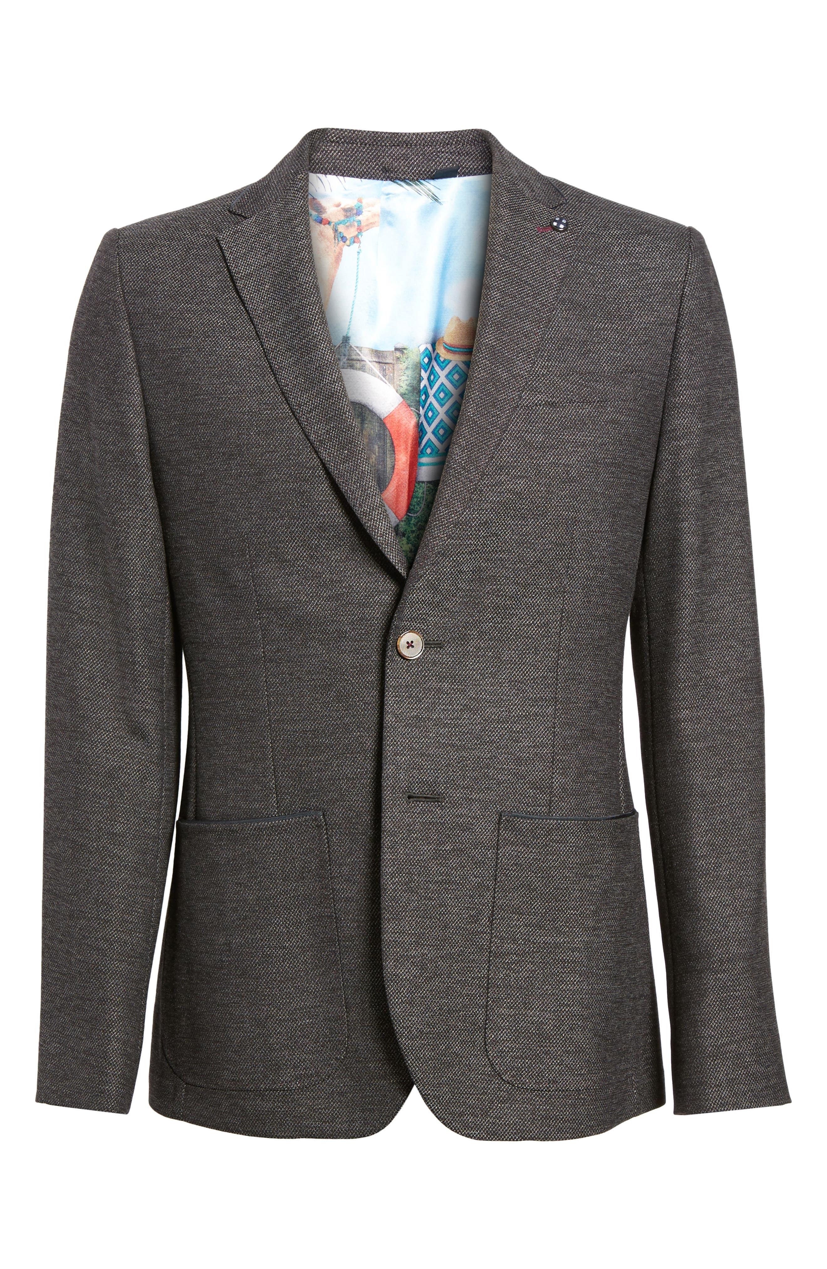 Port Slim Fit Jacket,                             Alternate thumbnail 6, color,                             Charcoal