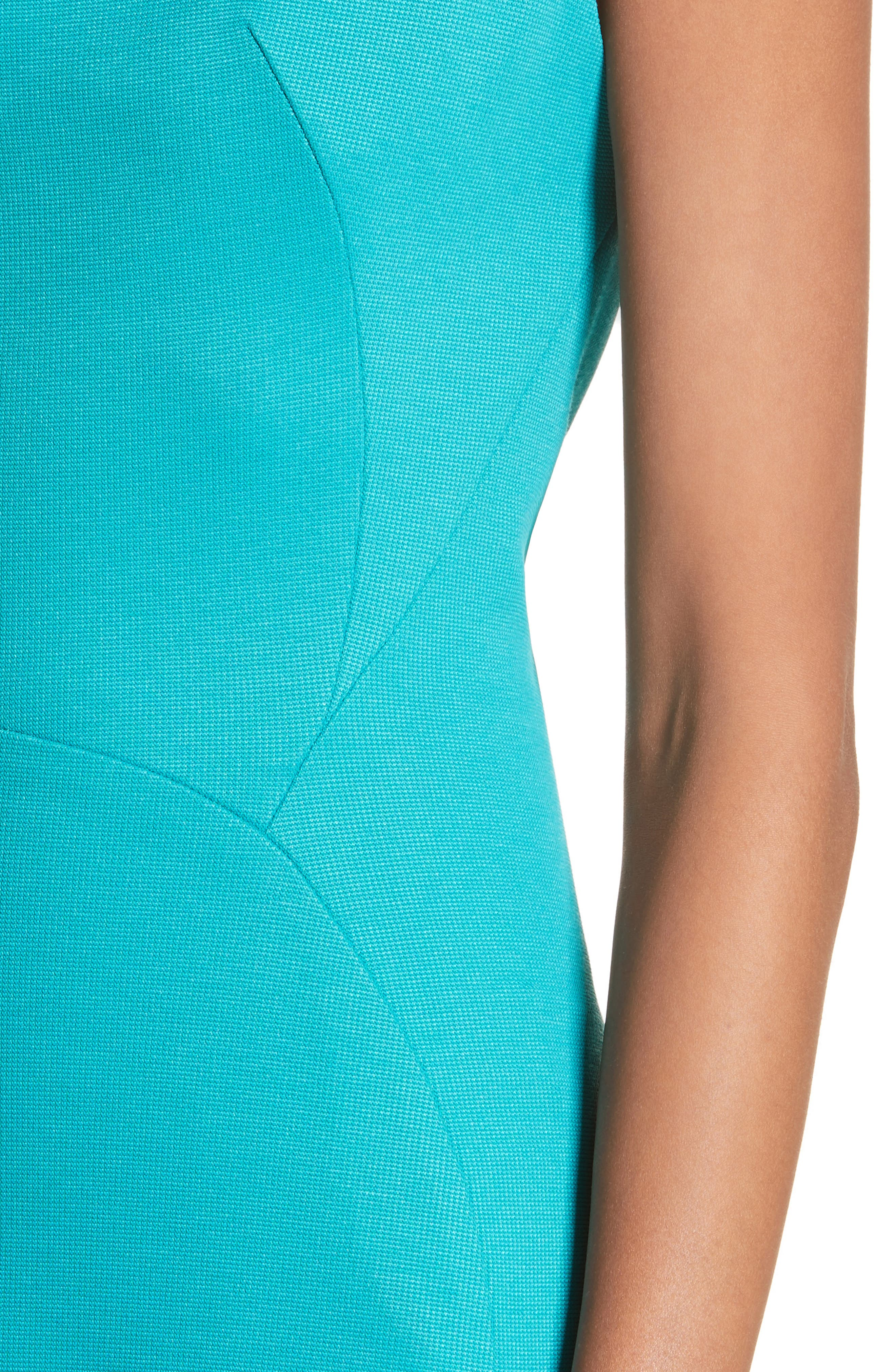Cap Sleeve Bondage Jersey Mermaid Gown,                             Alternate thumbnail 4, color,                             Turquoise