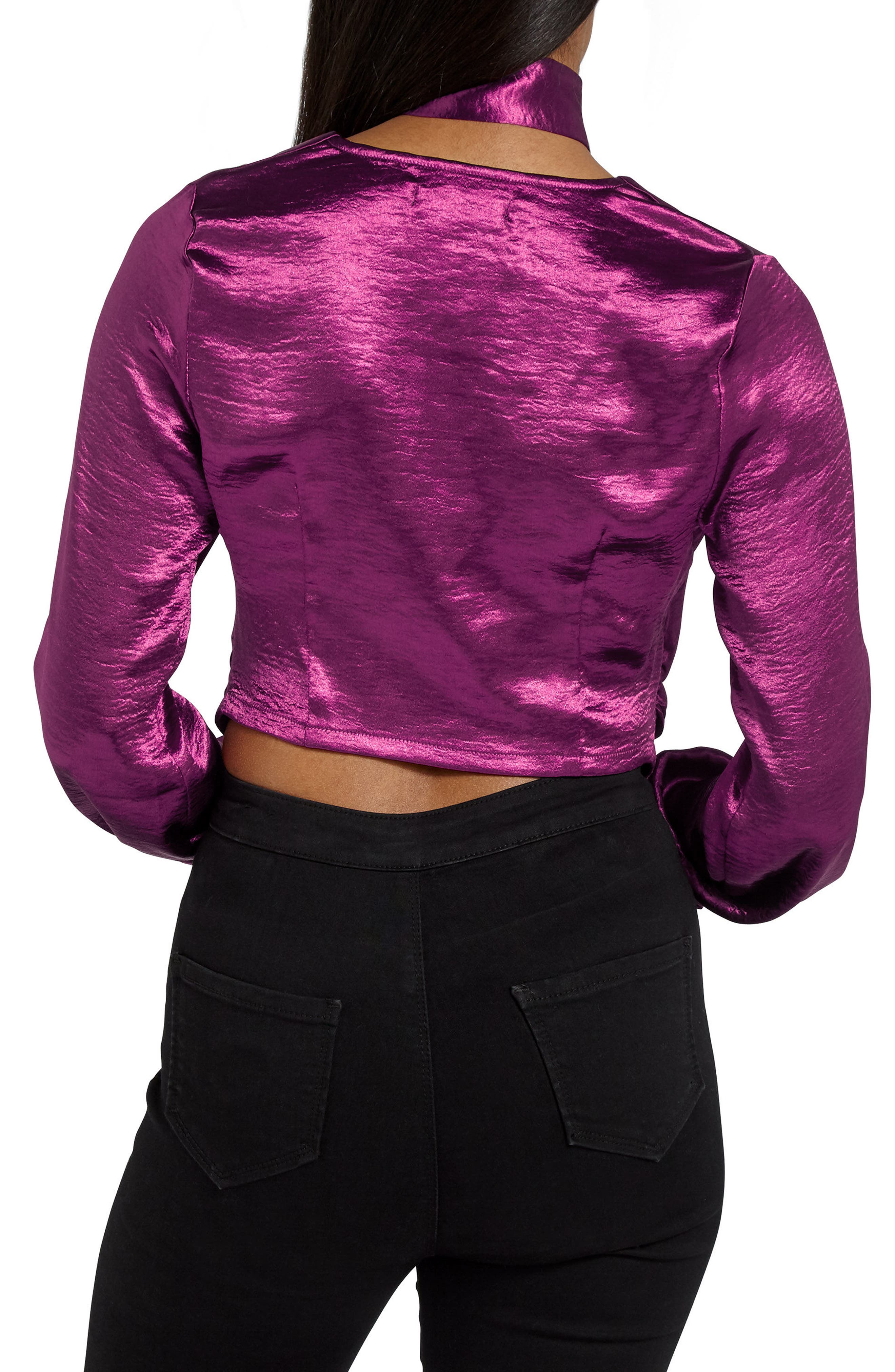 Alternate Image 3  - Missguided Choker Collar Faux Wrap Blouse