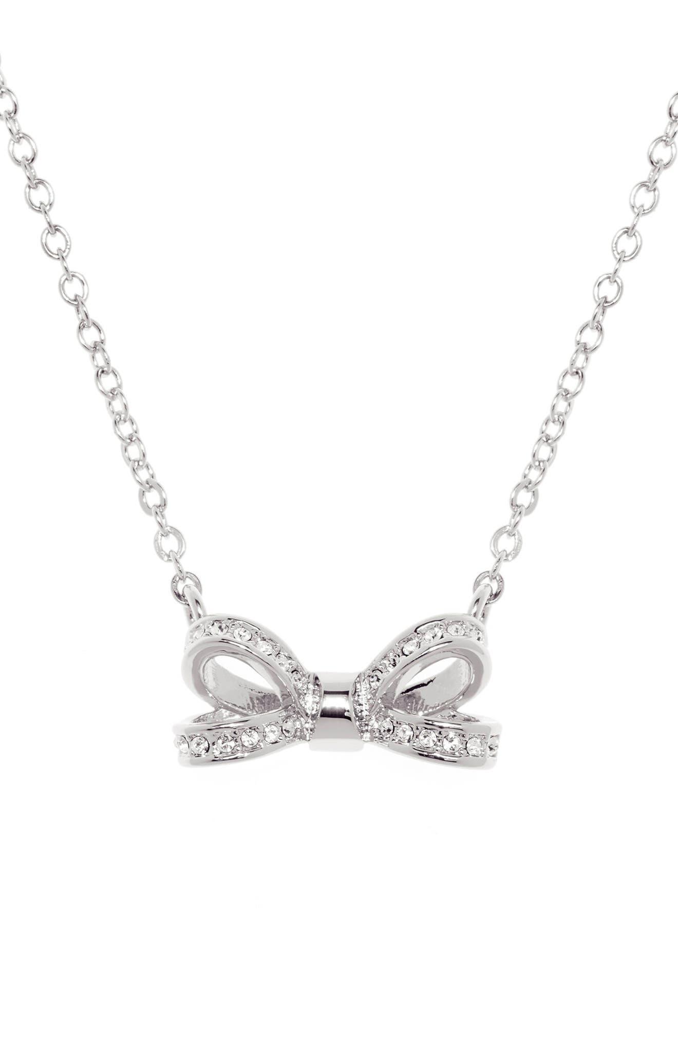 Mini Opulent Pavé Bow Pendant Necklace,                             Alternate thumbnail 2, color,                             Silver