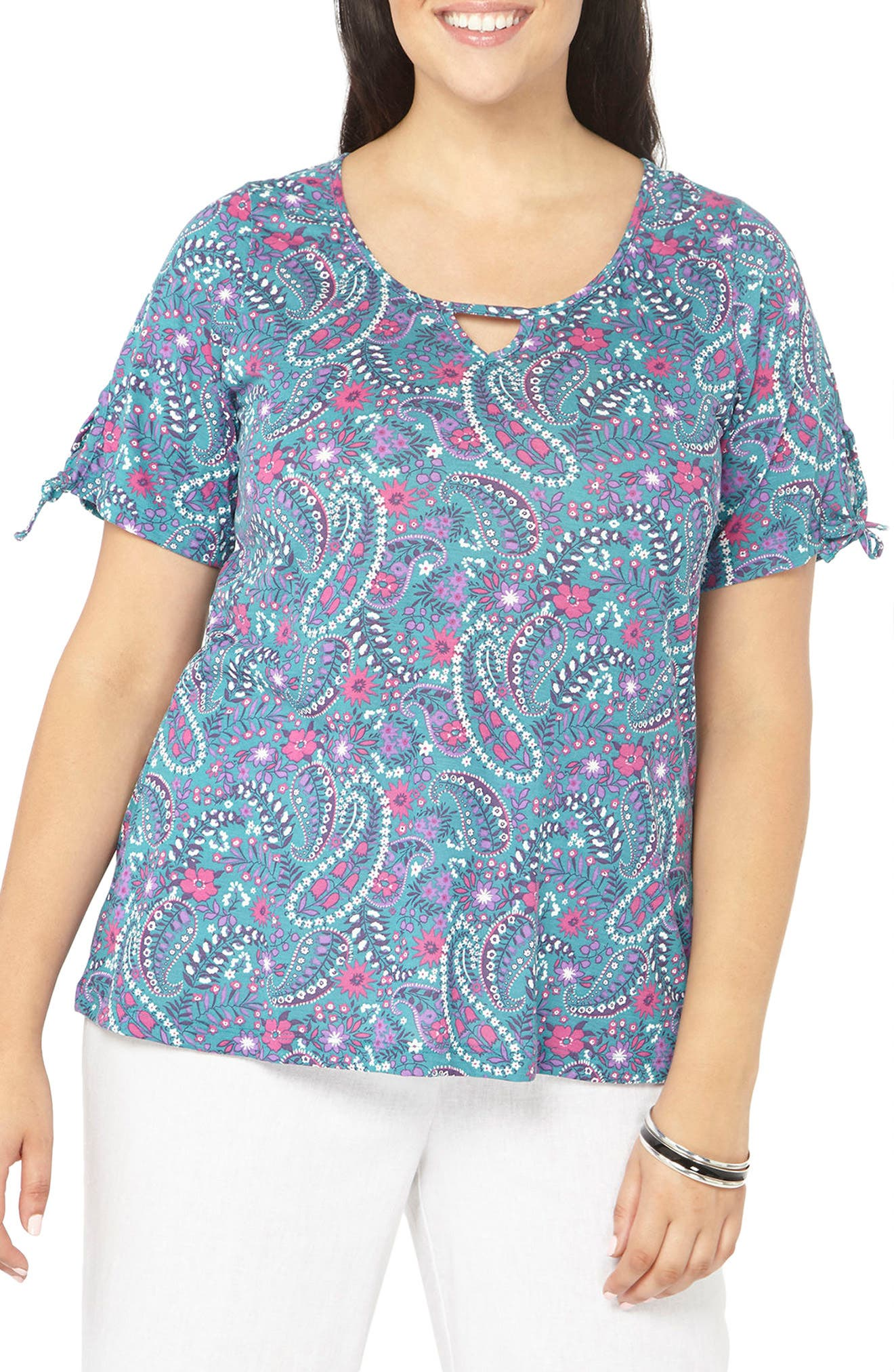 Paisley Floral Top,                         Main,                         color, Teal