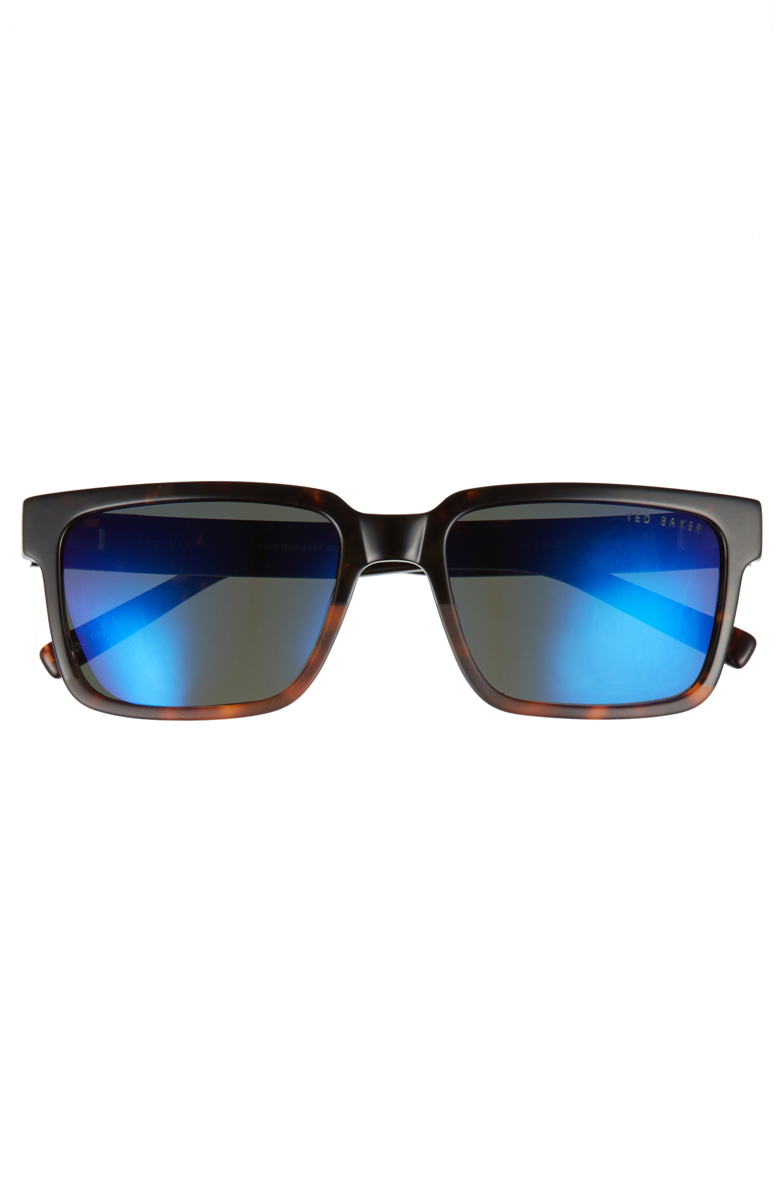 56mm Polarized Rectangular Sunglasses,                             Alternate thumbnail 2, color,                             Tortoise