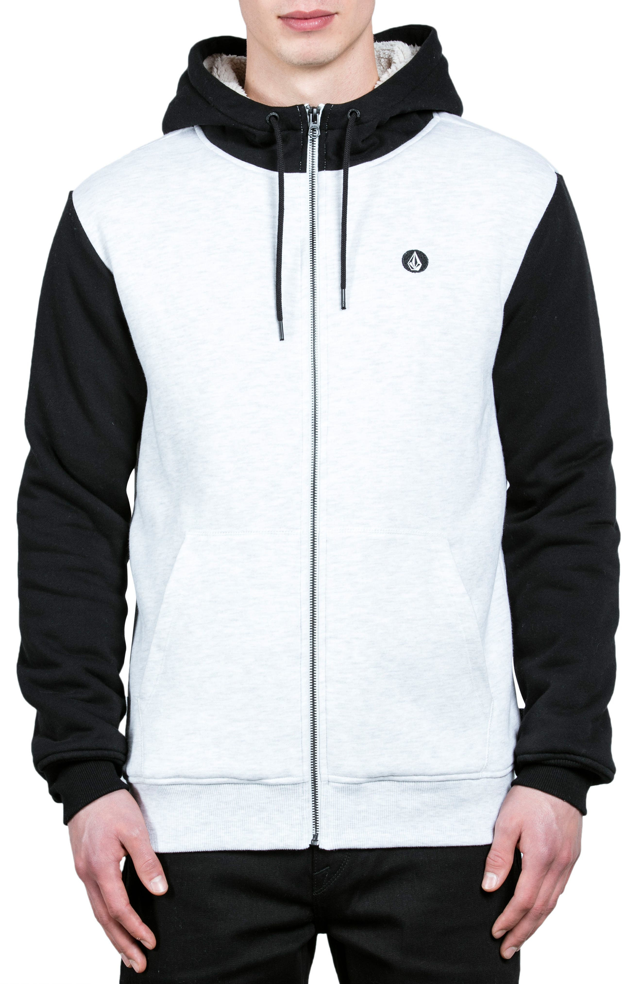 Single Stone Zip Hoodie,                             Main thumbnail 1, color,                             White