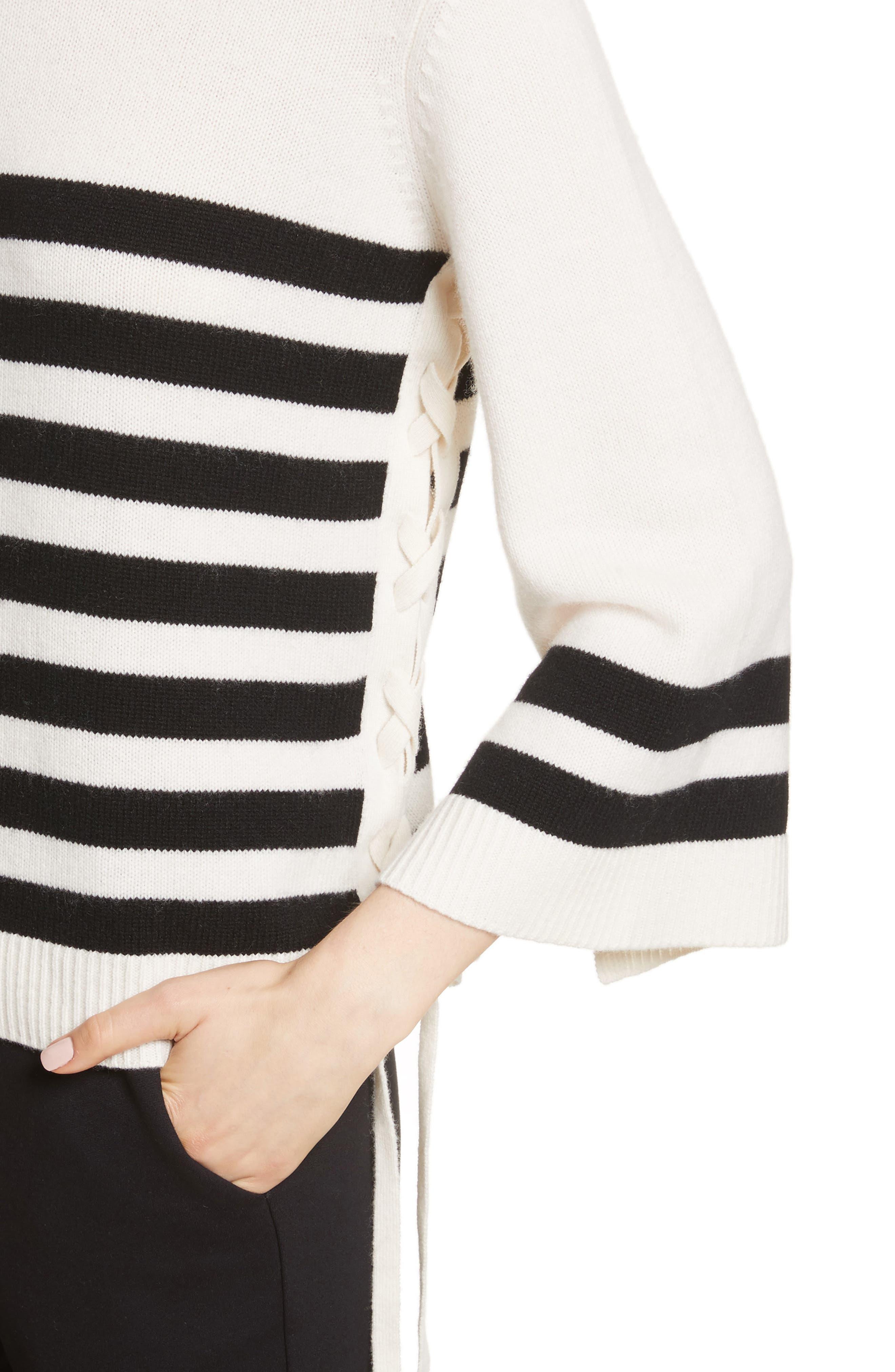 Lantz Mariner Sweater,                             Alternate thumbnail 4, color,                             Porcelain/ Caviar
