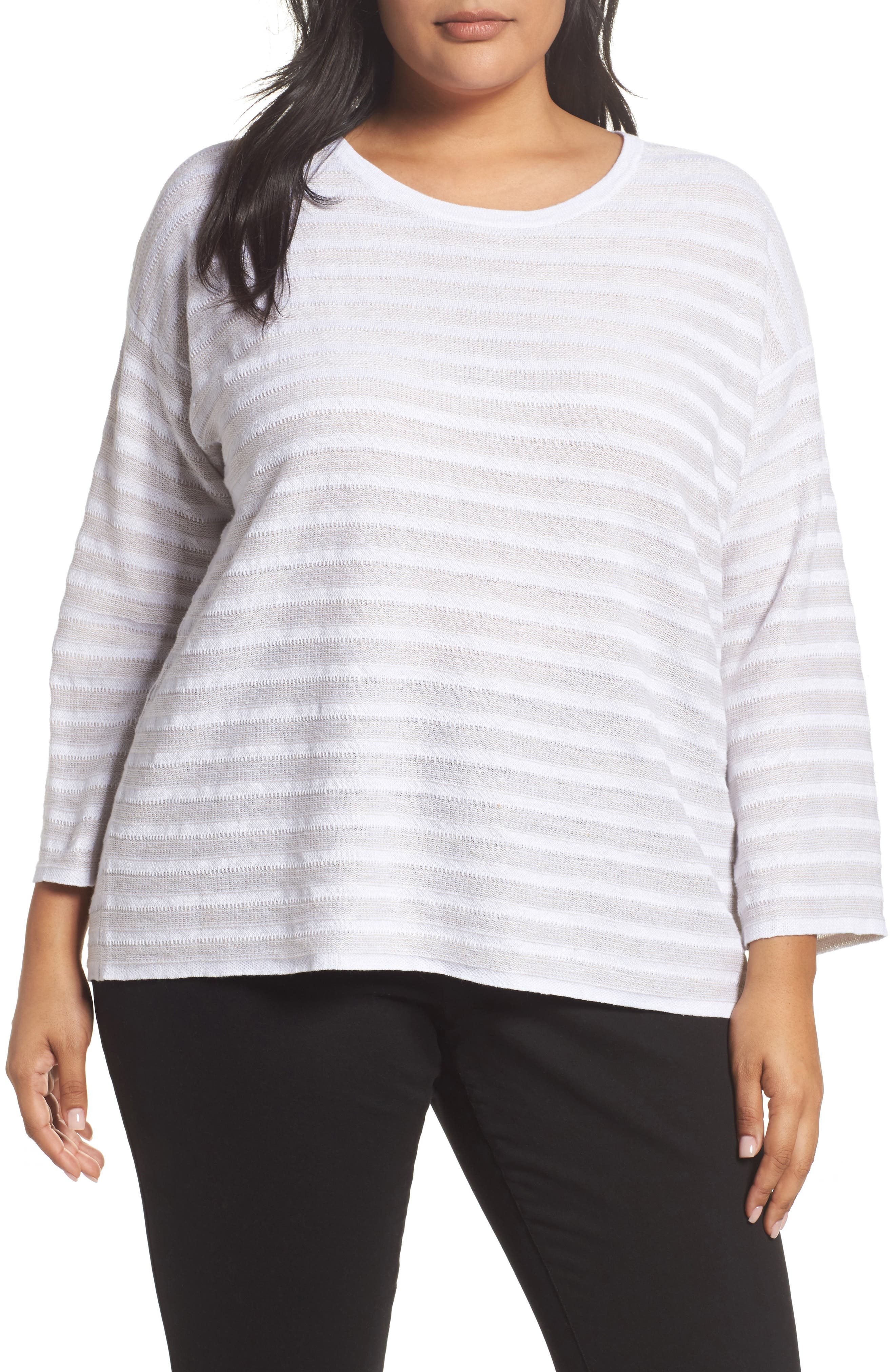Main Image - Eileen Fisher Textured Organic Linen Sweater (Plus Size)