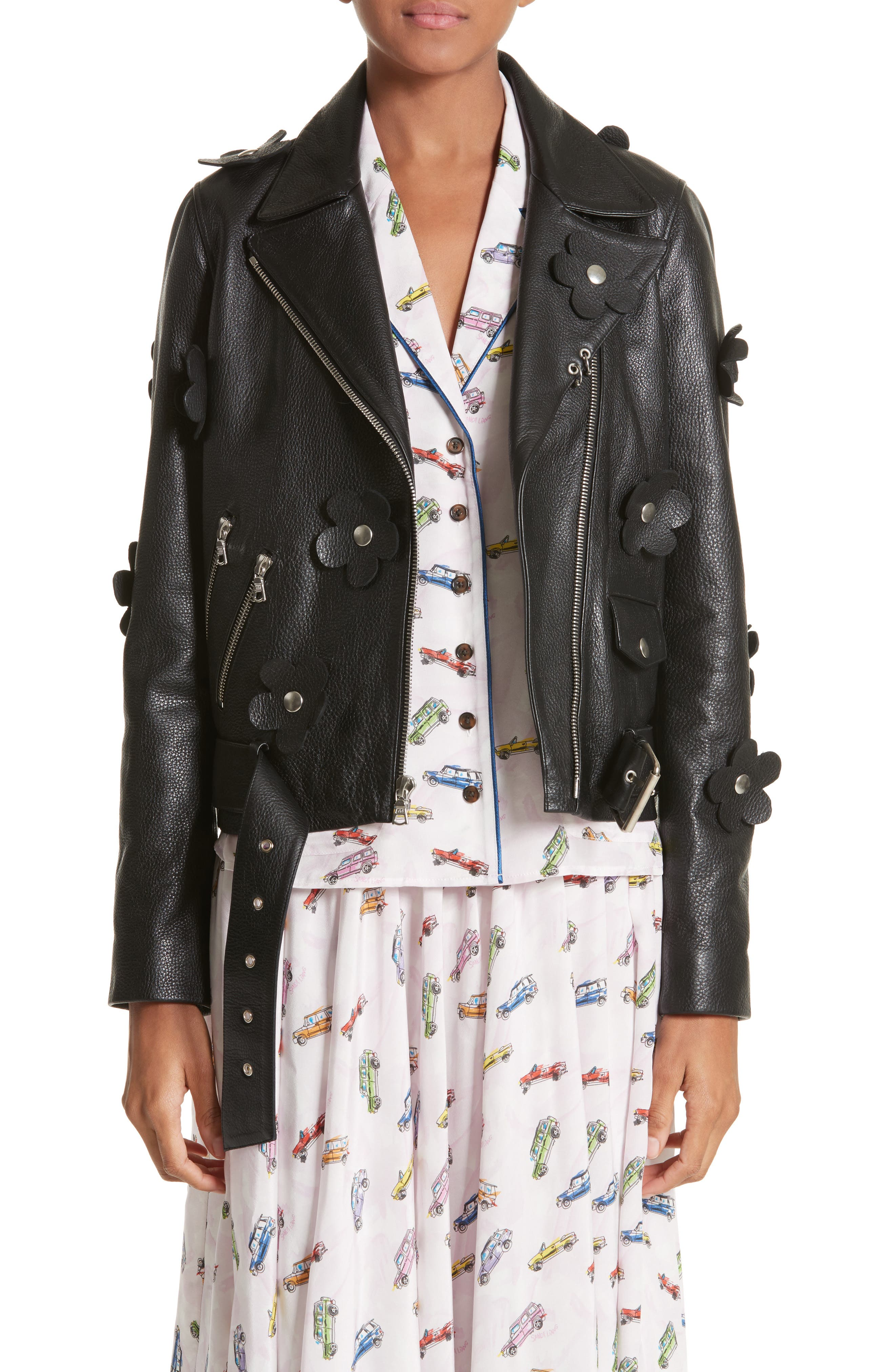 Sandy Liang Petals Delancey Leather Moto Jacket