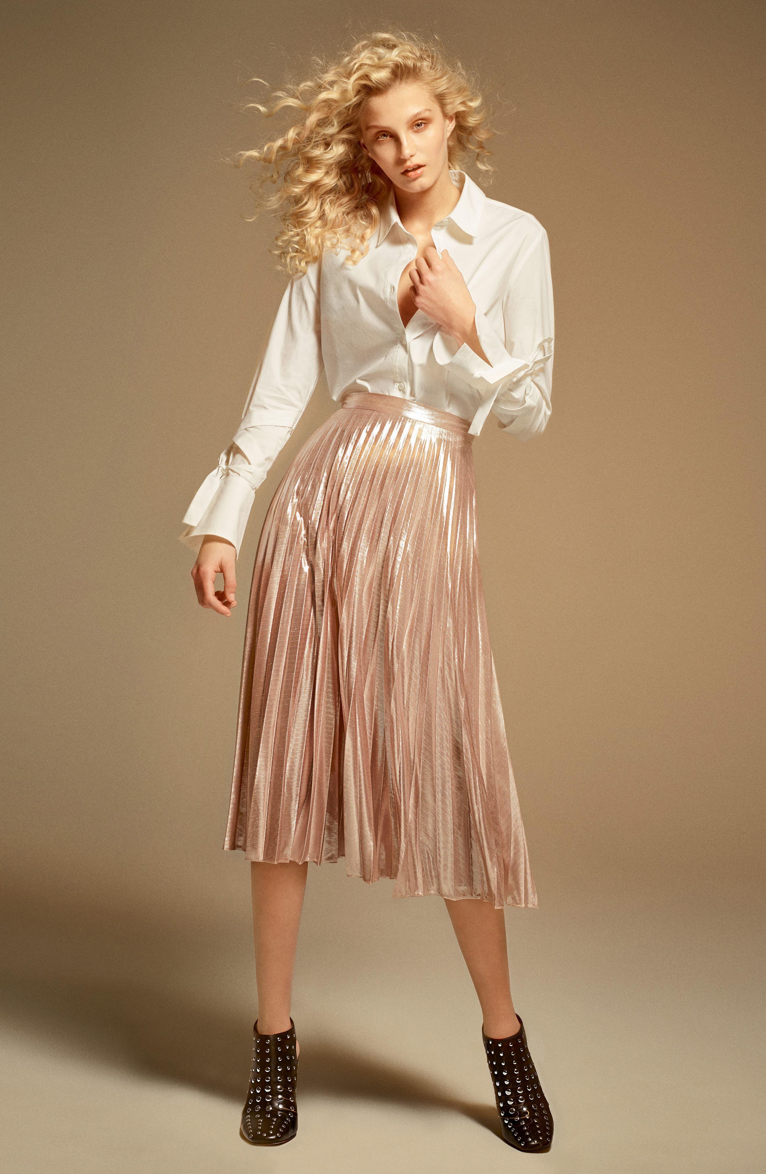 Alternate Image 2  - 1.STATE Metallic Pleated Midi Skirt