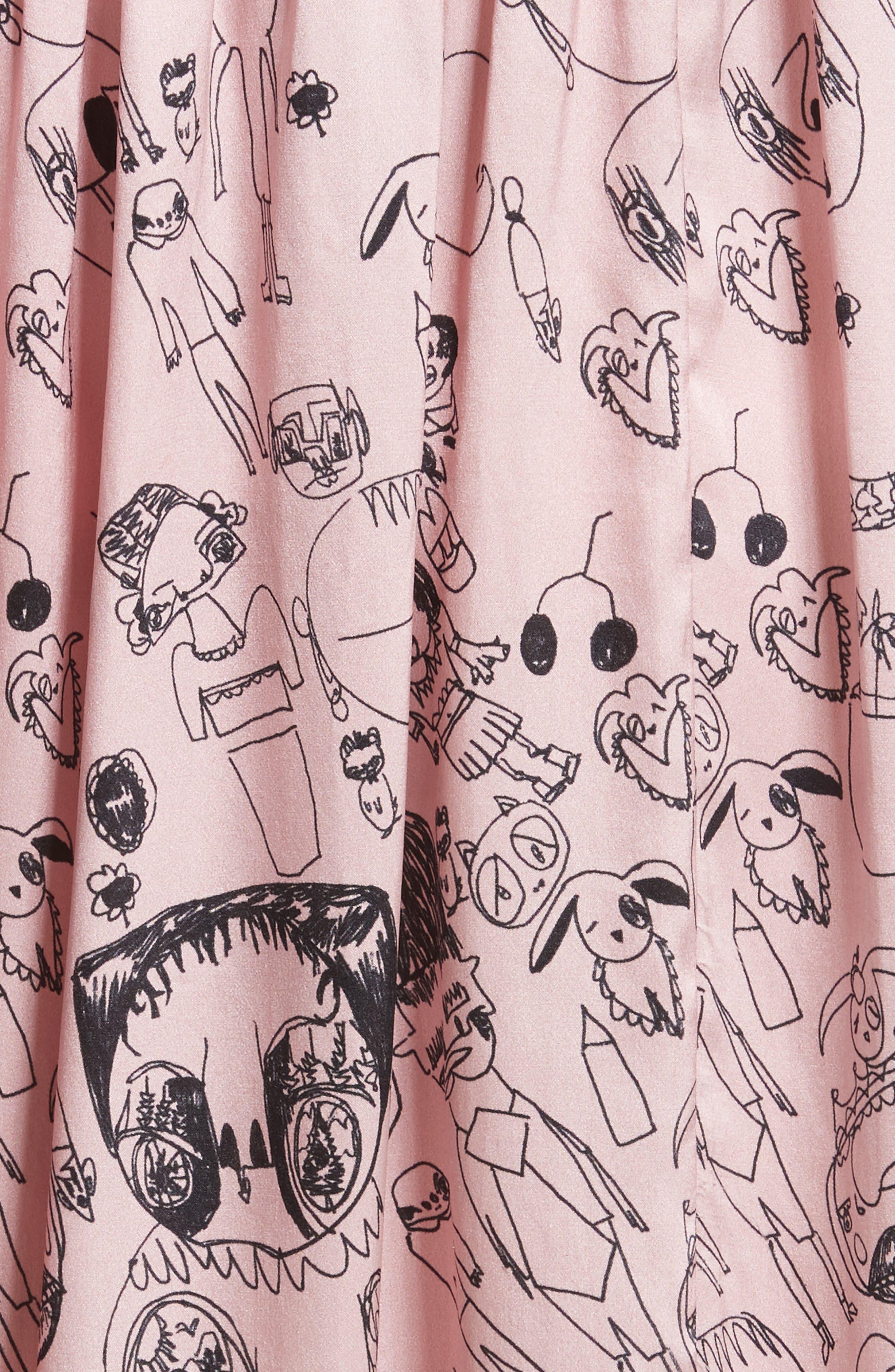 Heather Print Silk Dress,                             Alternate thumbnail 6, color,                             Rosette / Black