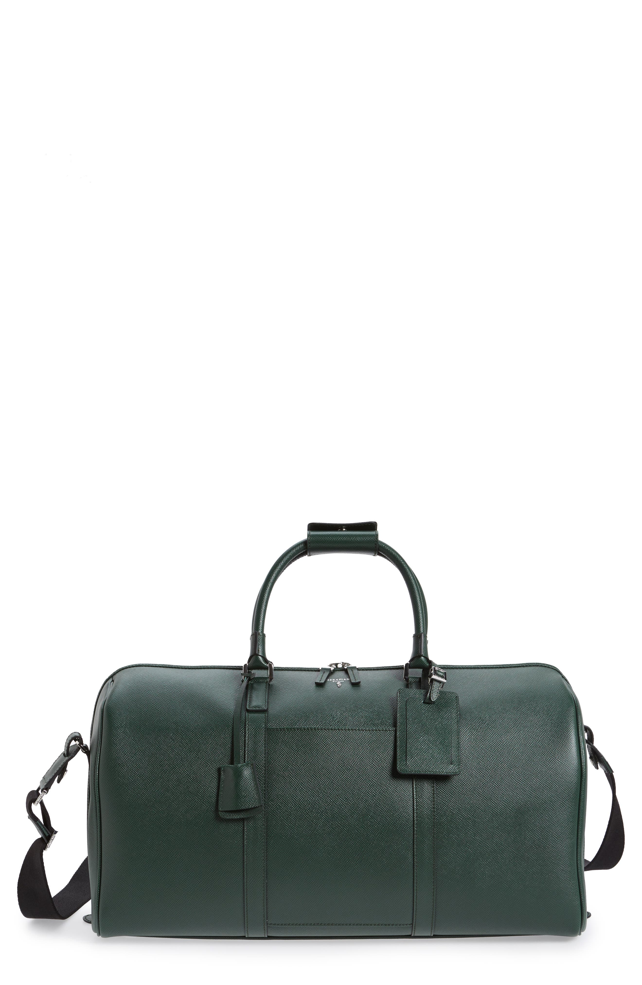 Small Evolution Leather Duffel Bag,                             Main thumbnail 1, color,                             Forest Green