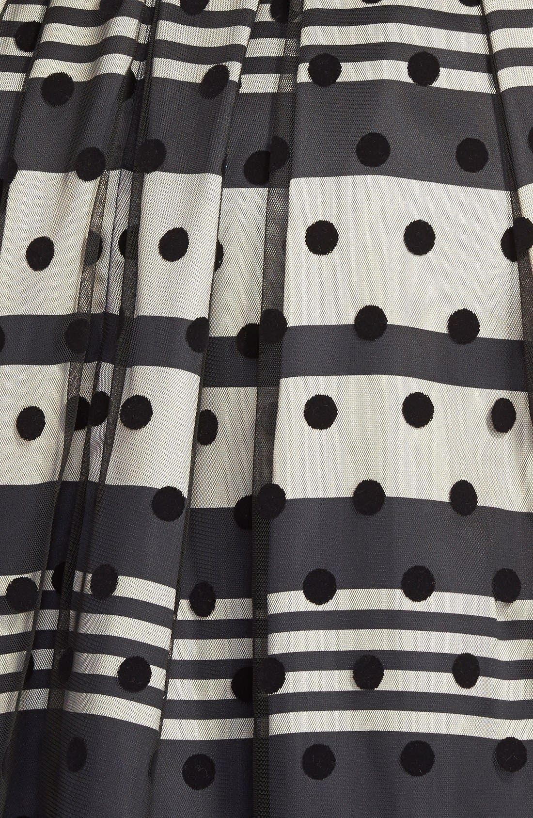 Alternate Image 4  - Eliza J Stripe Fit & Flare Dress with Dot Mesh Overlay (Plus Size)