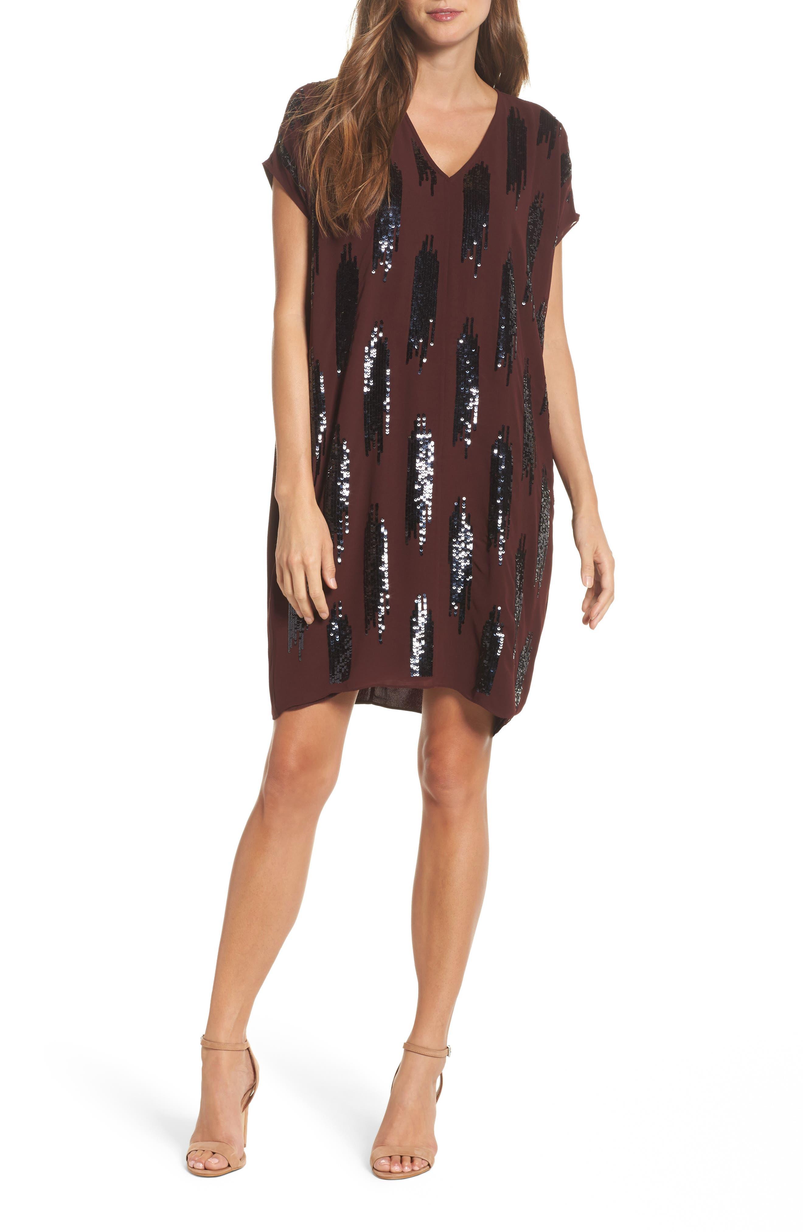NIC+ZOE Sequin Cold Shoulder Shift Dress