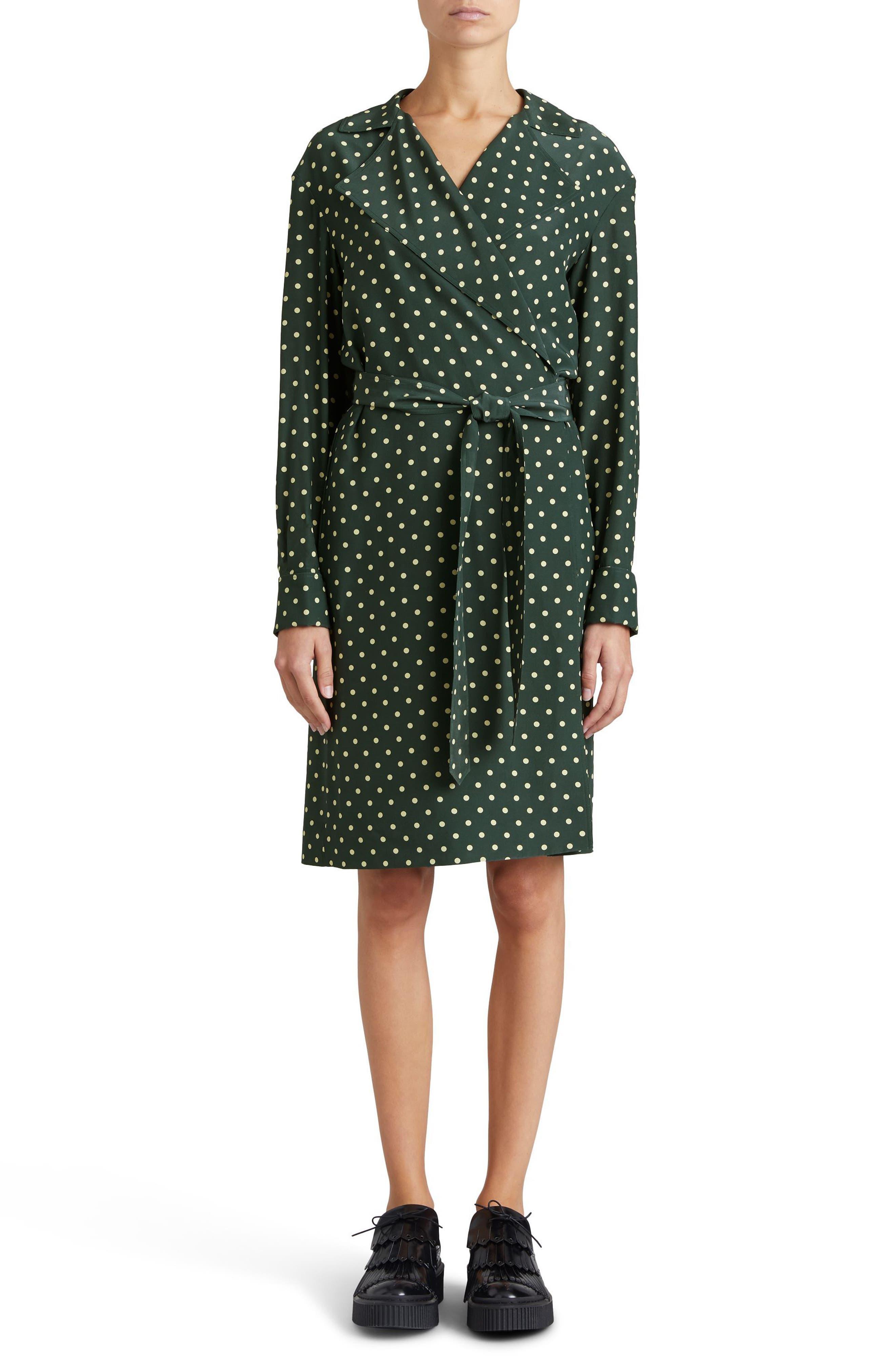 Janis Polka Dot Silk Wrap Dress,                             Main thumbnail 1, color,                             Racing Green