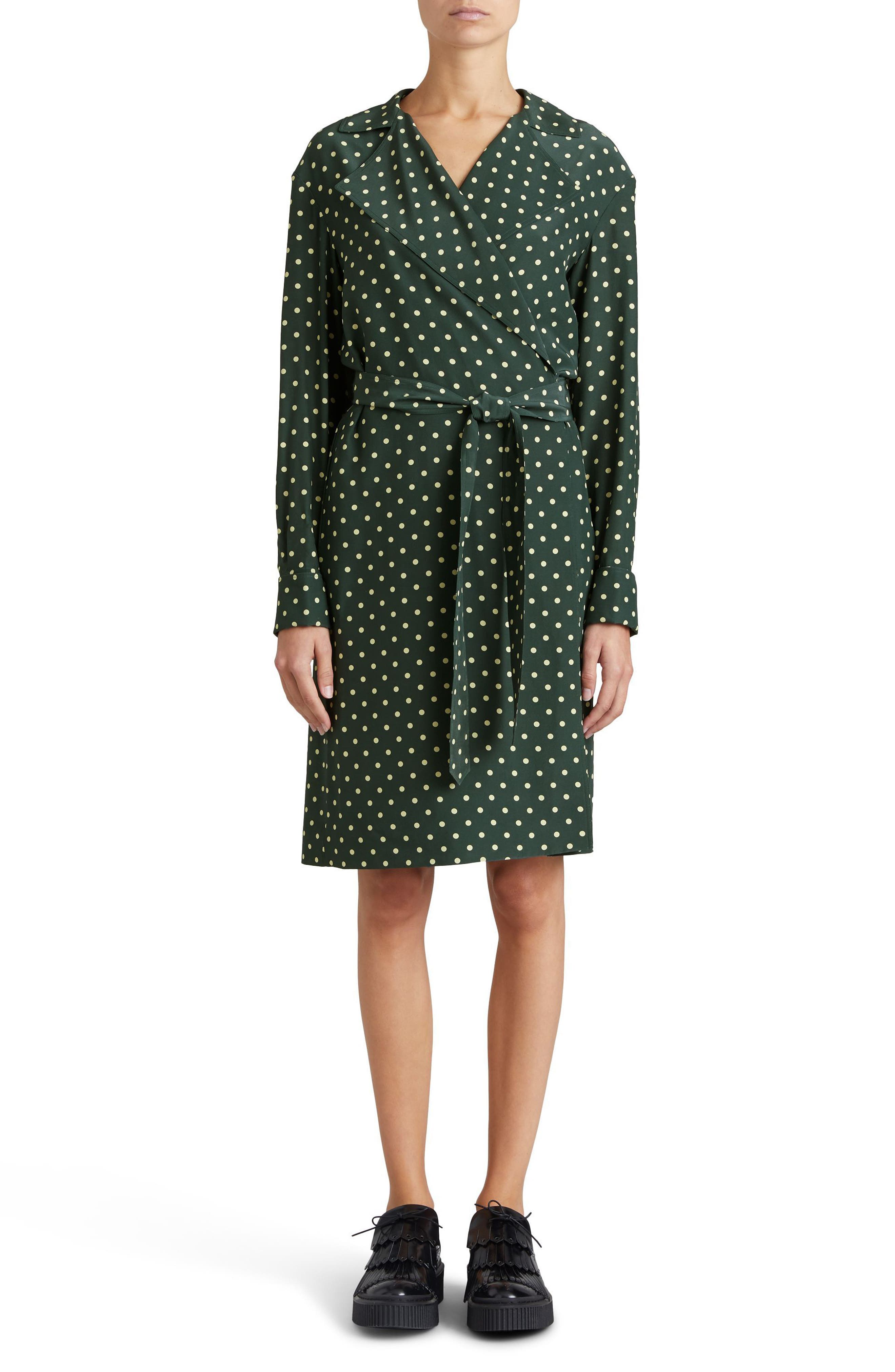Burberry Janis Polka Dot Silk Wrap Dress