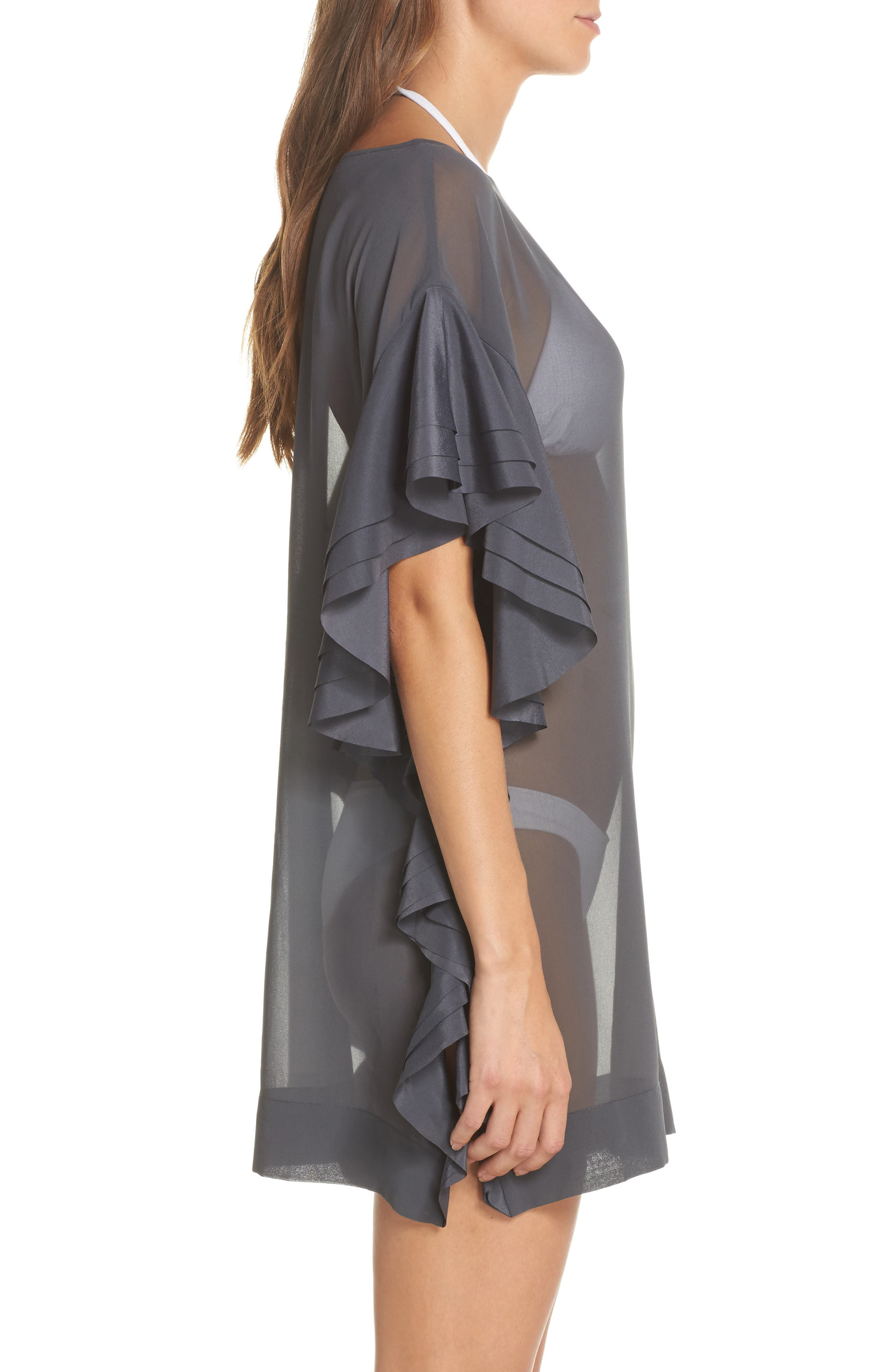 Ruffle Square Cover-Up Dress,                             Alternate thumbnail 3, color,                             Grey