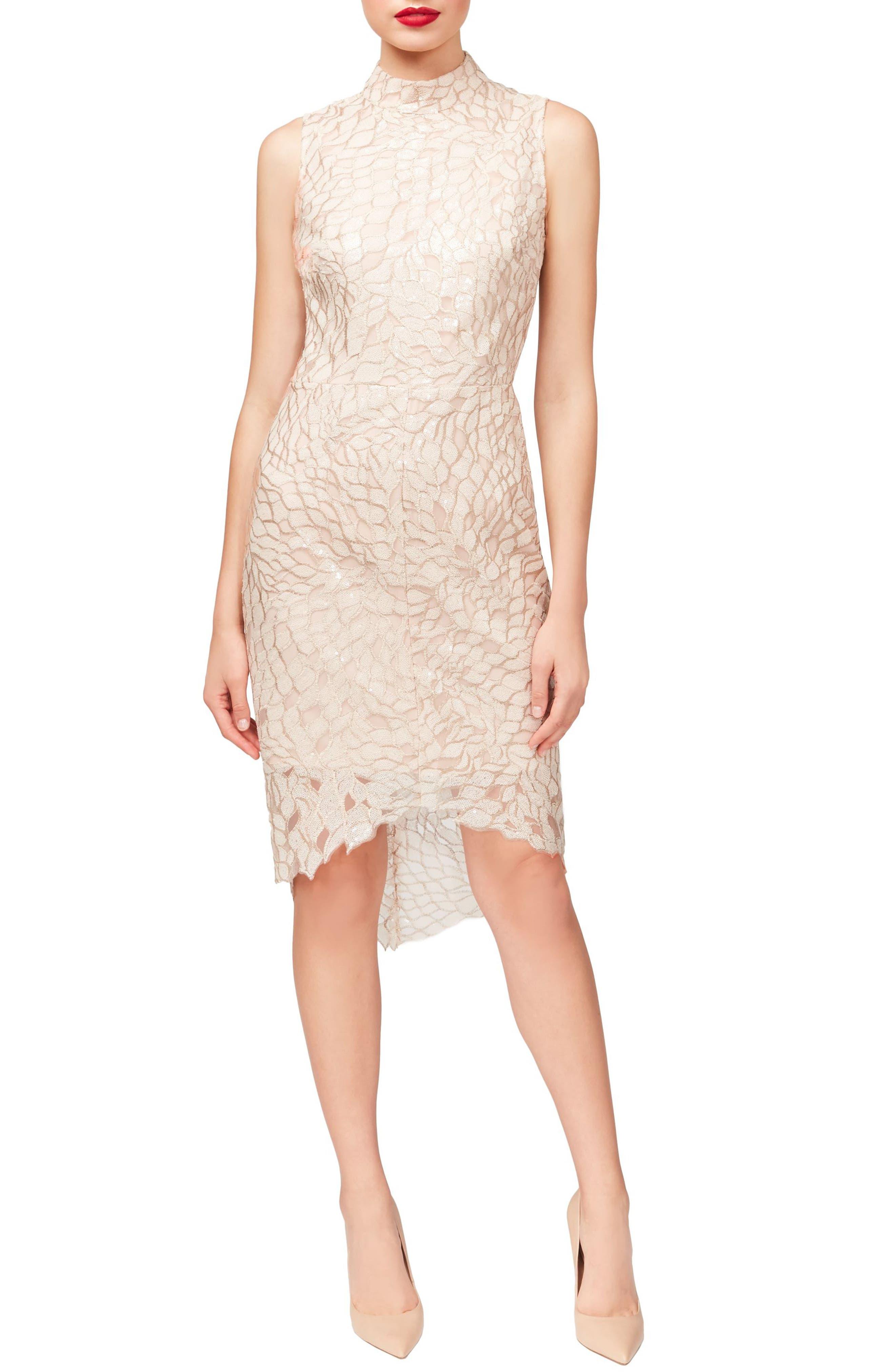 Sequin High/Low Dress,                             Main thumbnail 1, color,                             Peach