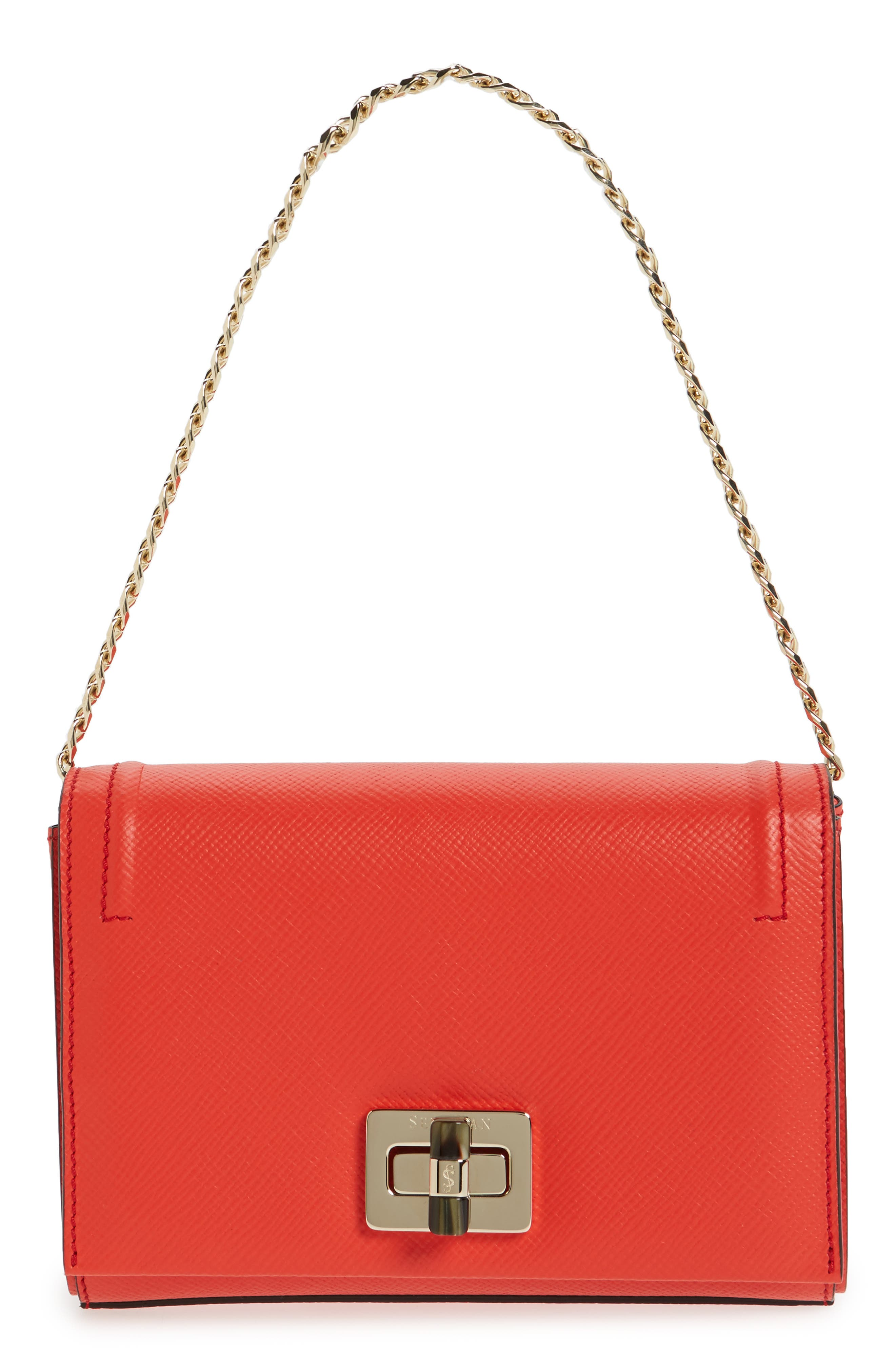 Mini Ilenea Leather Crossbody Bag,                             Alternate thumbnail 7, color,                             Coral Red