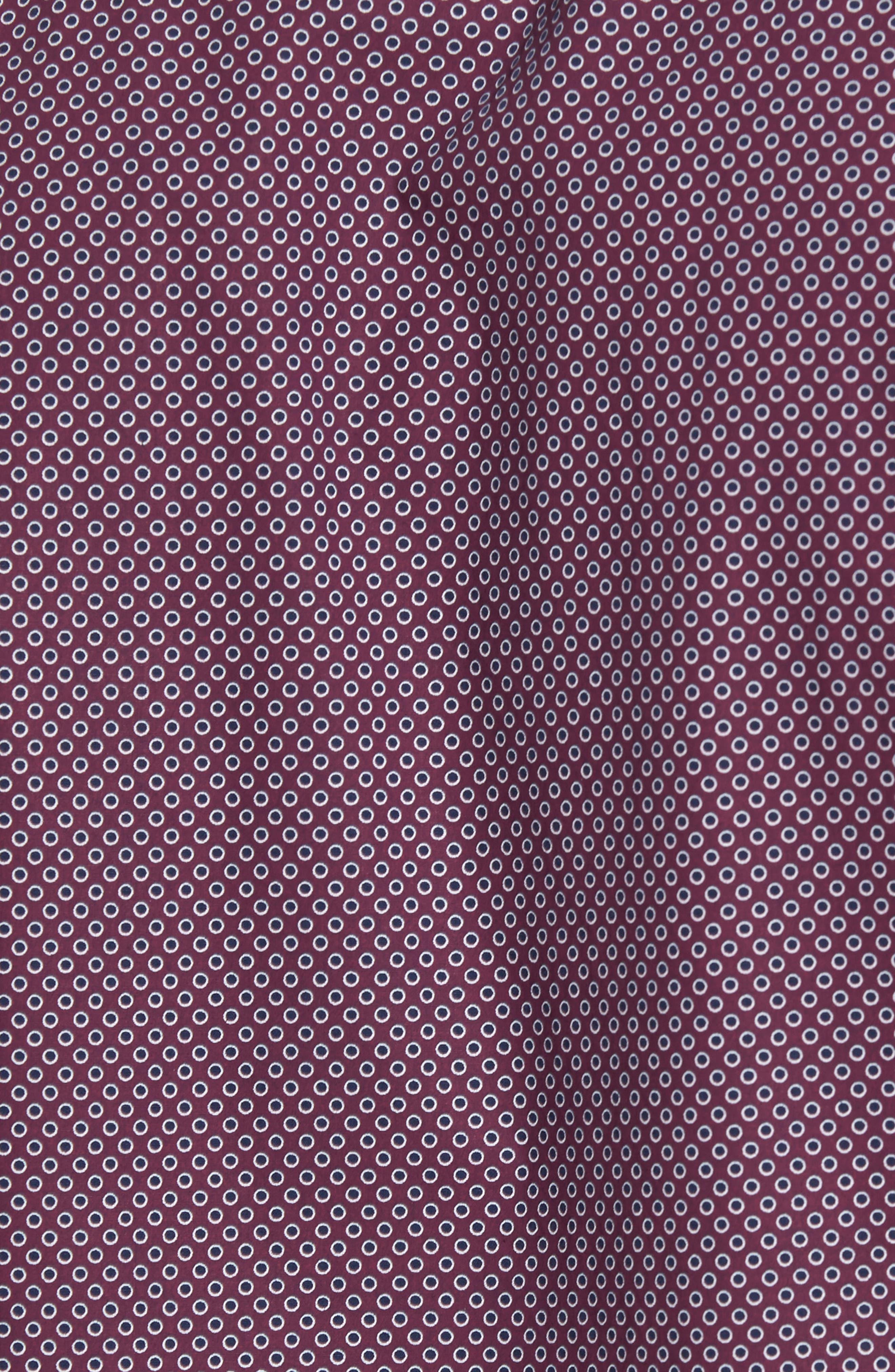 Ingleton Regular Fit Dot Sport Shirt,                             Alternate thumbnail 5, color,                             Merlot