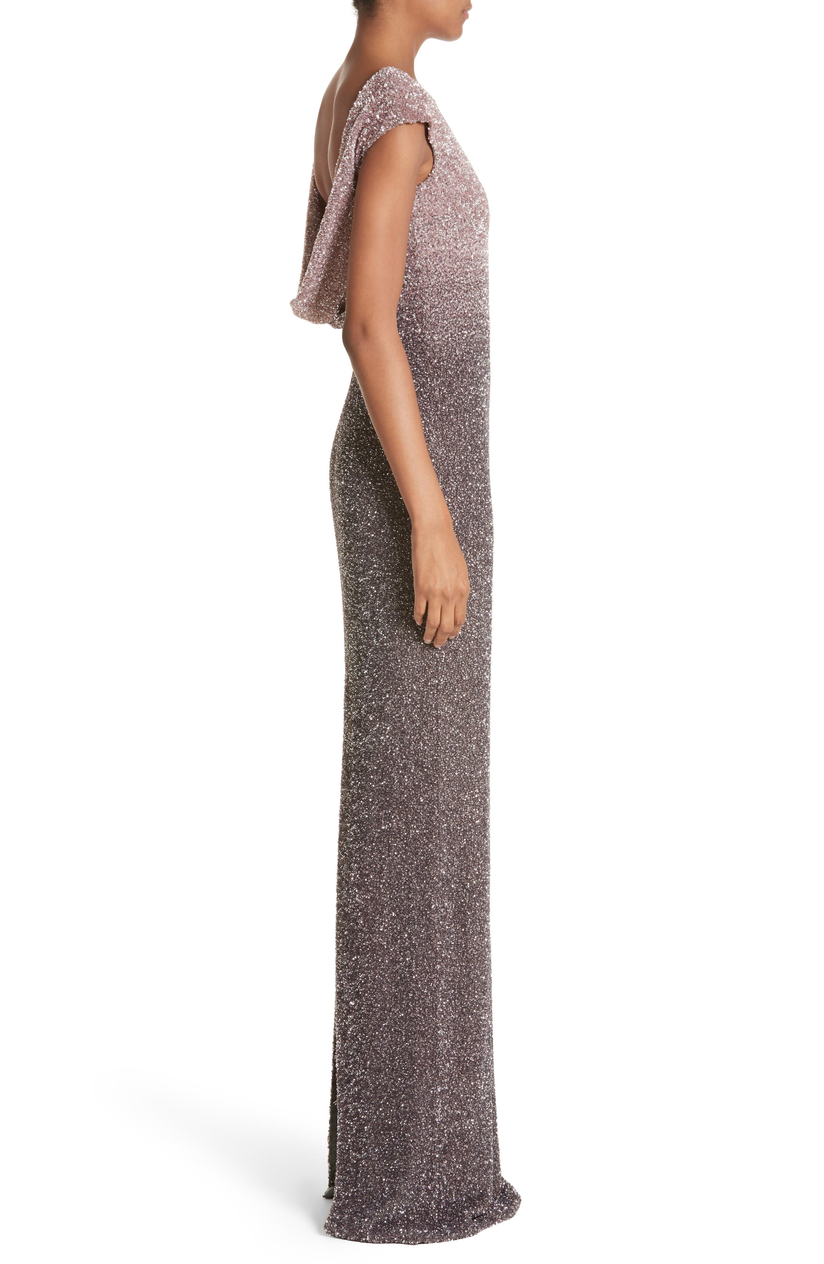 Cowl Back Sequin Column Gown,                             Alternate thumbnail 3, color,                             Blush/ Smoke