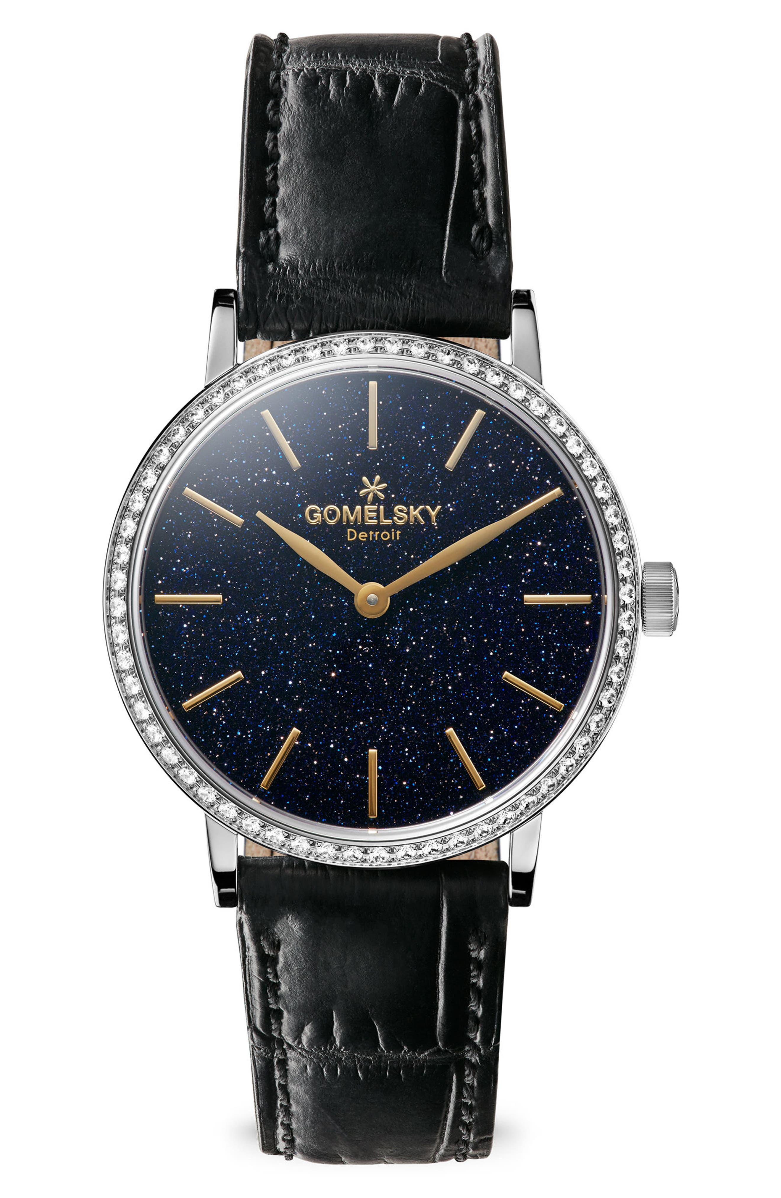The Agnes Varies Diamond Alligator Strap Watch, 32mm,                             Main thumbnail 1, color,                             Black/ Mop/ Silver
