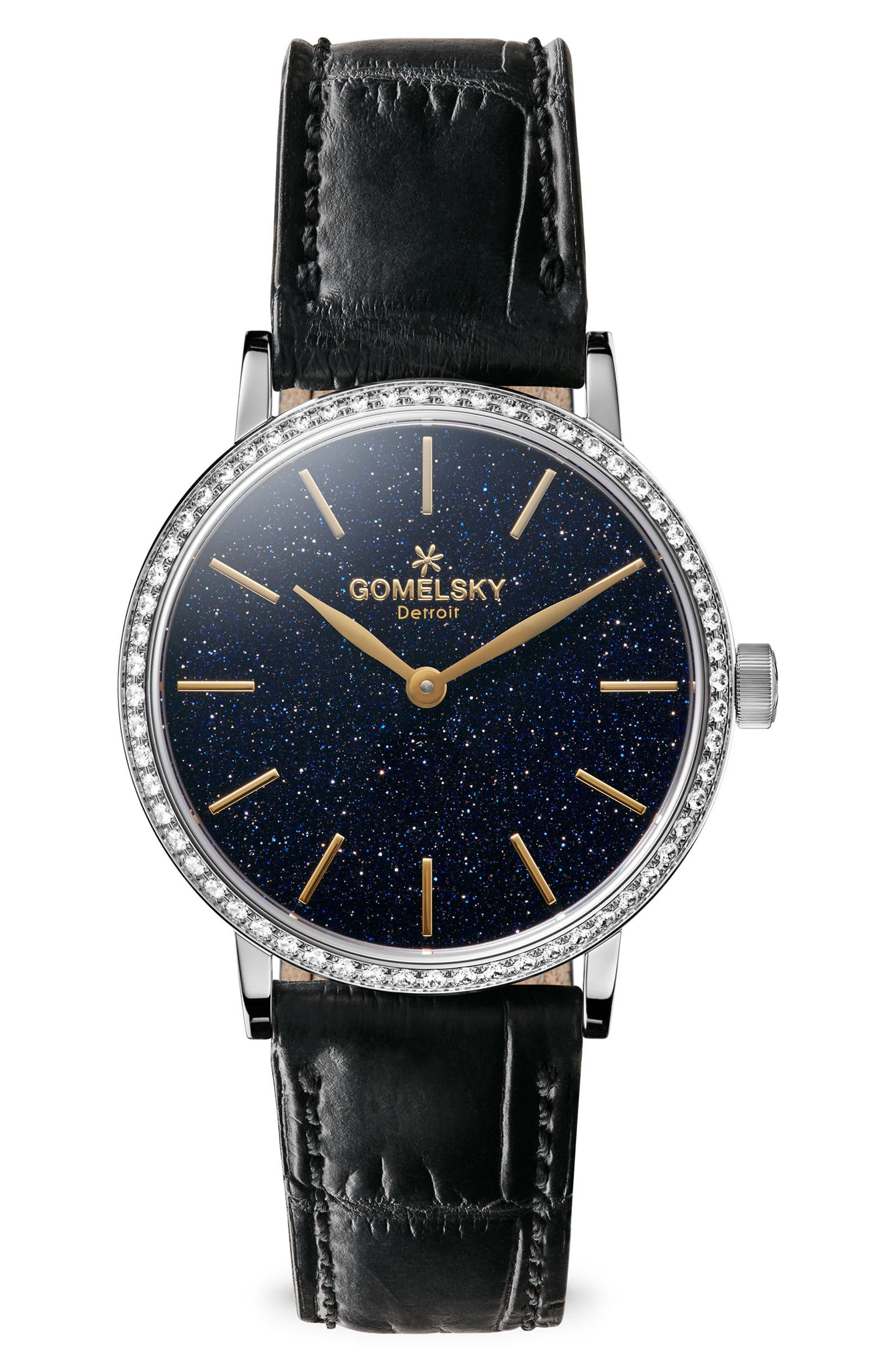 The Agnes Varies Diamond Alligator Strap Watch, 32mm,                         Main,                         color, Black/ Mop/ Silver
