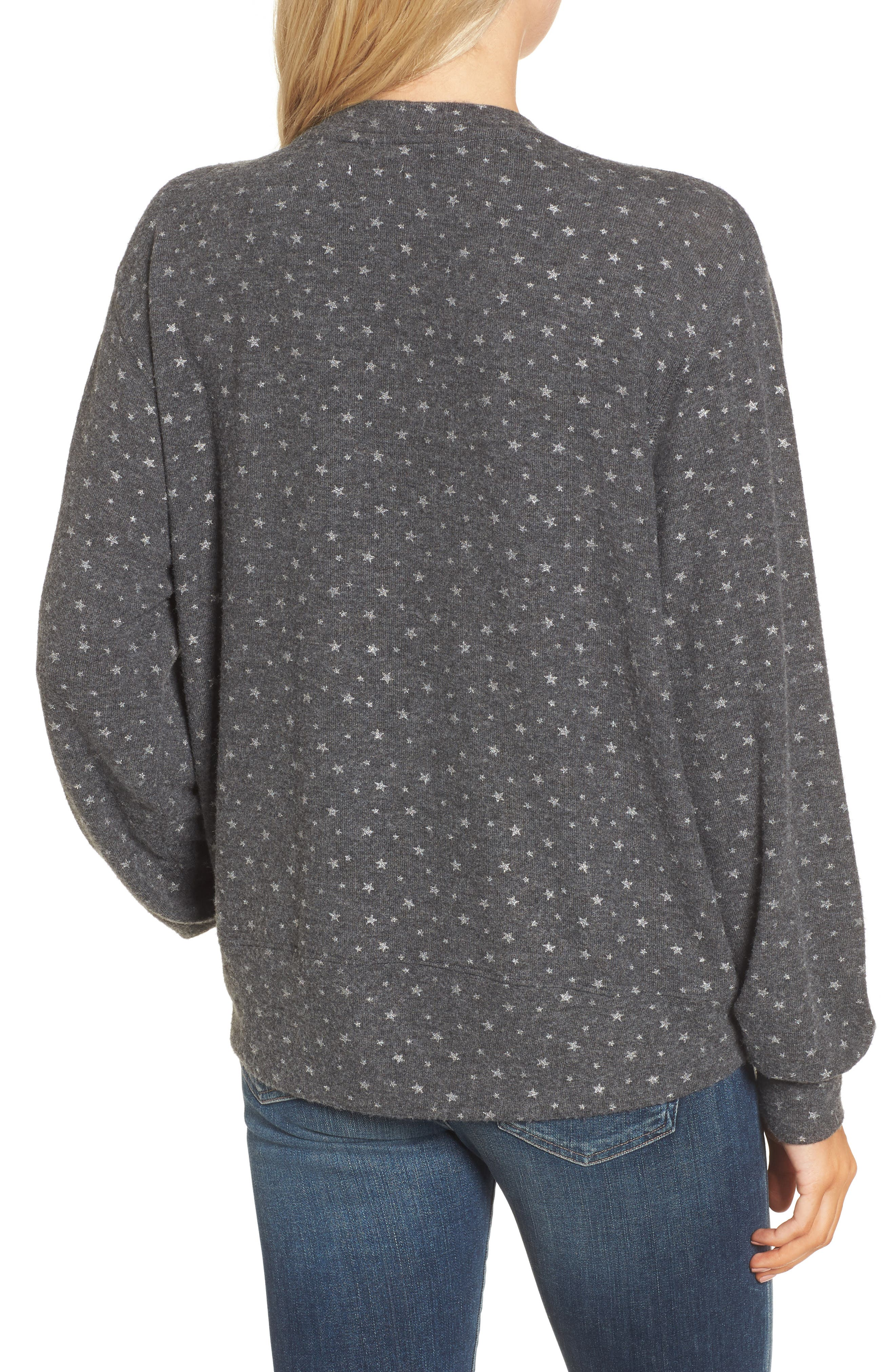 Sparkle Sweatshirt,                             Alternate thumbnail 2, color,                             Charcoal/ Silver