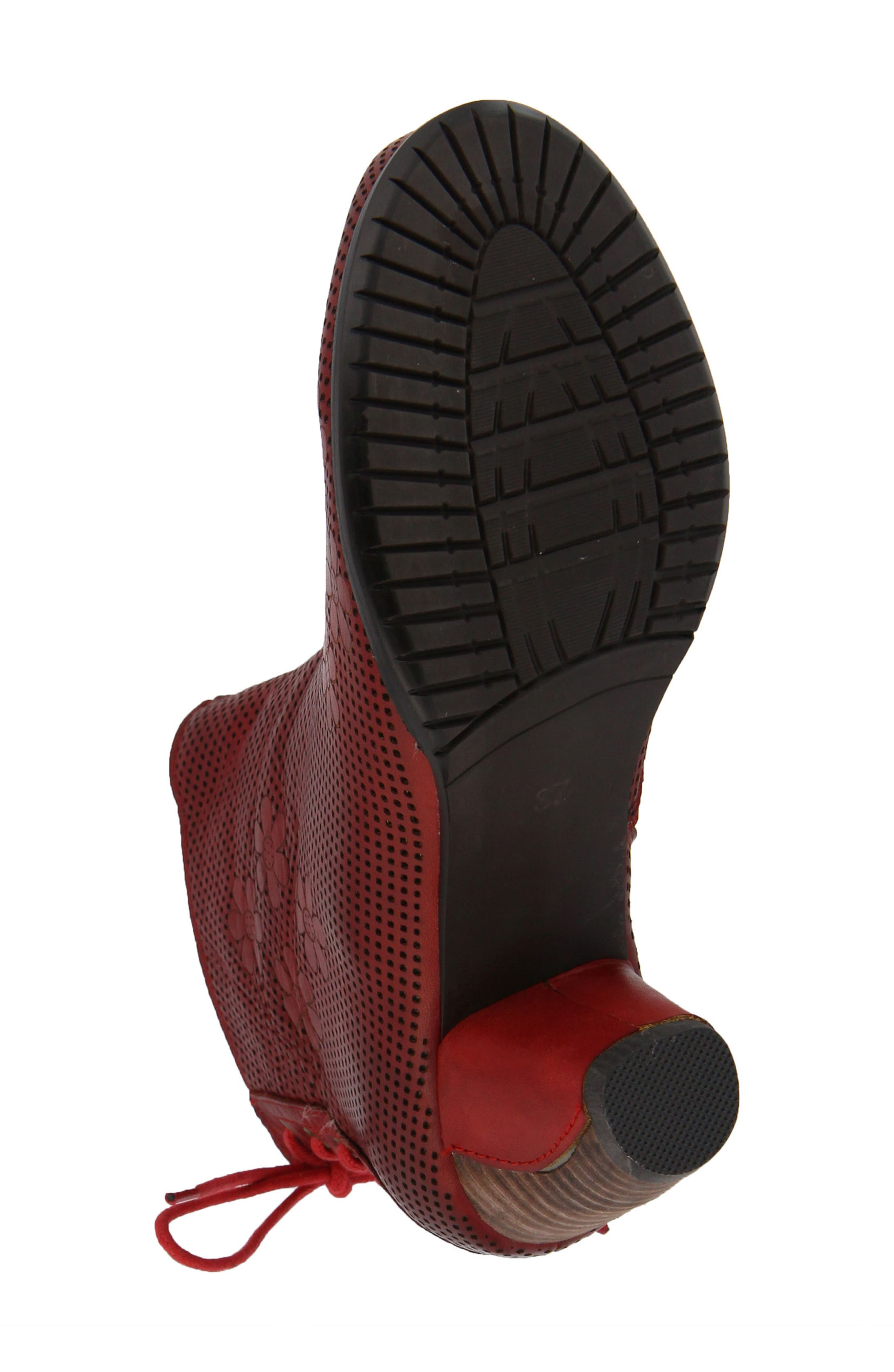 L'Artiste Teca Bootie,                             Alternate thumbnail 5, color,                             Red Leather