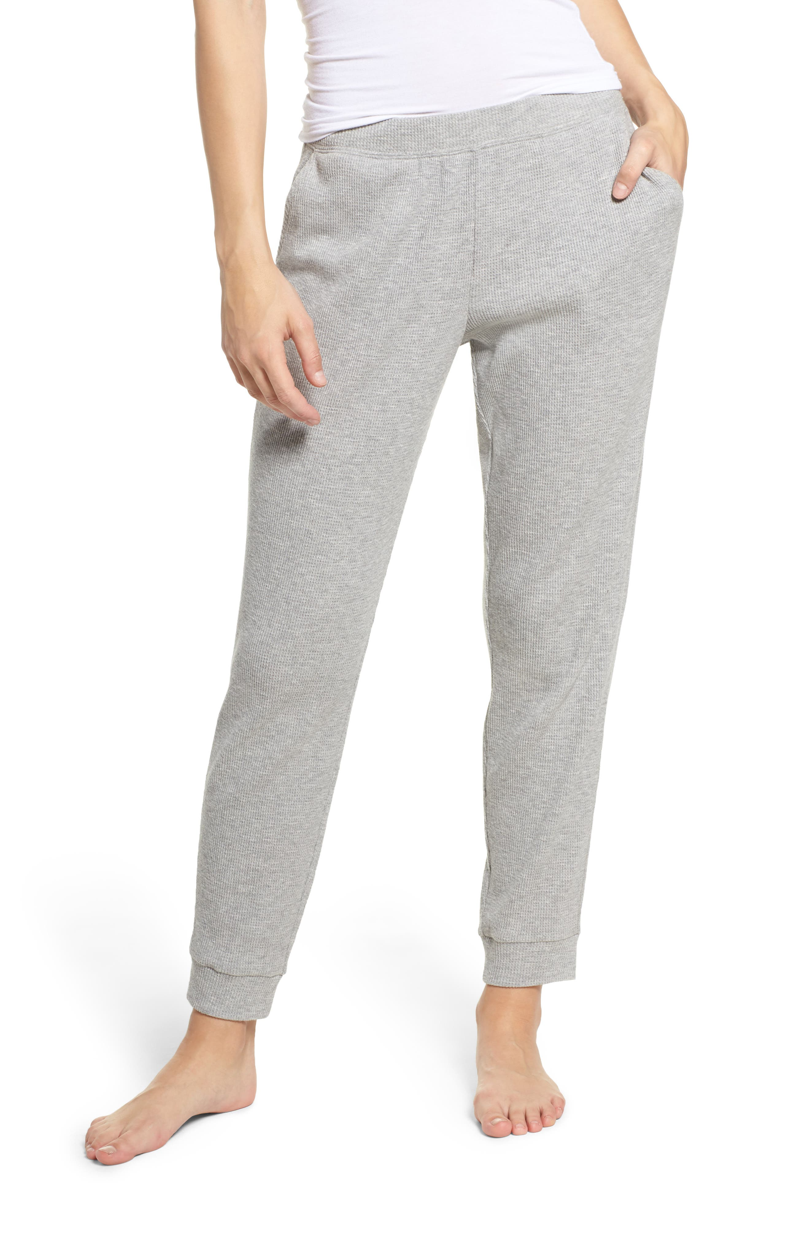 Ily Waffle Knit Lounge Pants,                         Main,                         color, Heather Grey