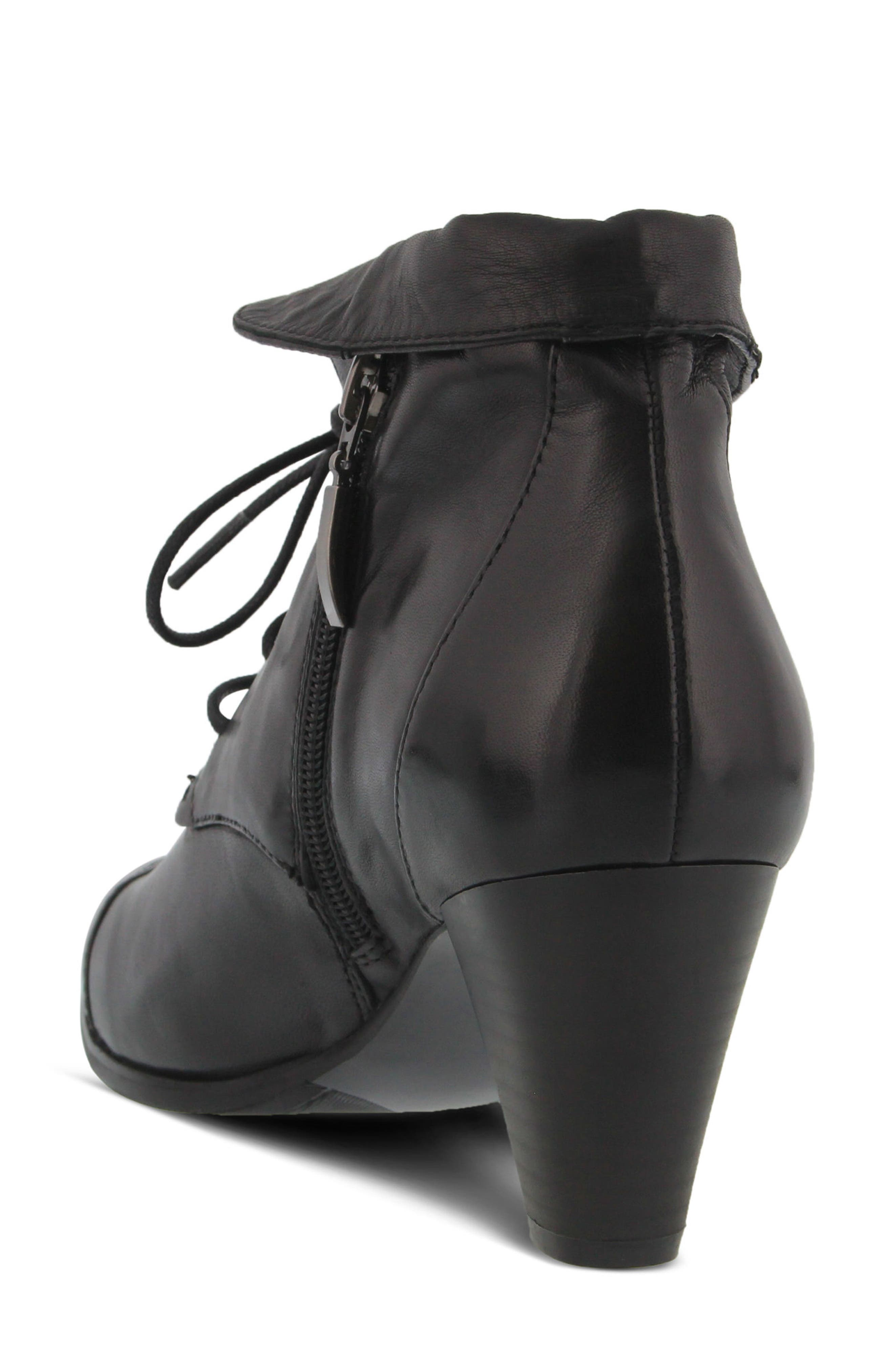 Conquer Foldover Cuff Bootie,                             Alternate thumbnail 2, color,                             Black Leather