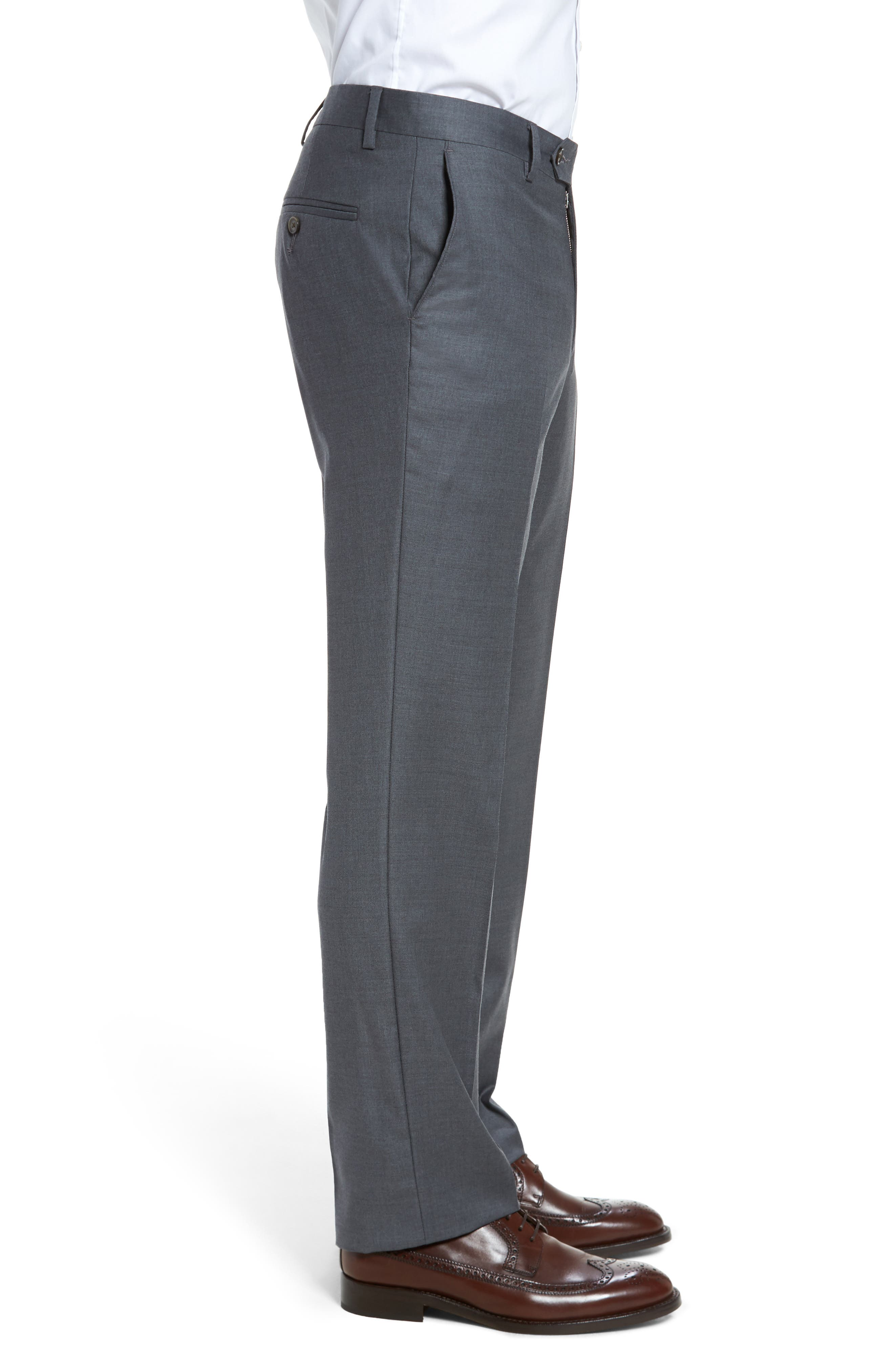 Alternate Image 3  - Berle Flat Front Stretch Solid Wool Trousers