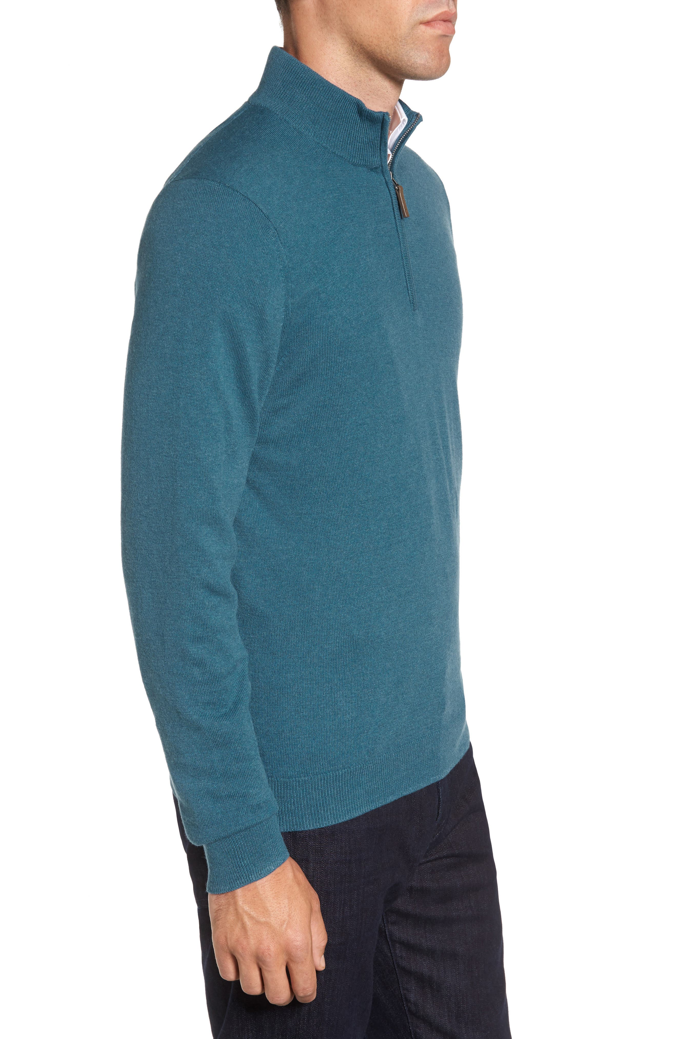 Half Zip Cotton & Cashmere Pullover,                             Alternate thumbnail 3, color,                             Teal Moroccan