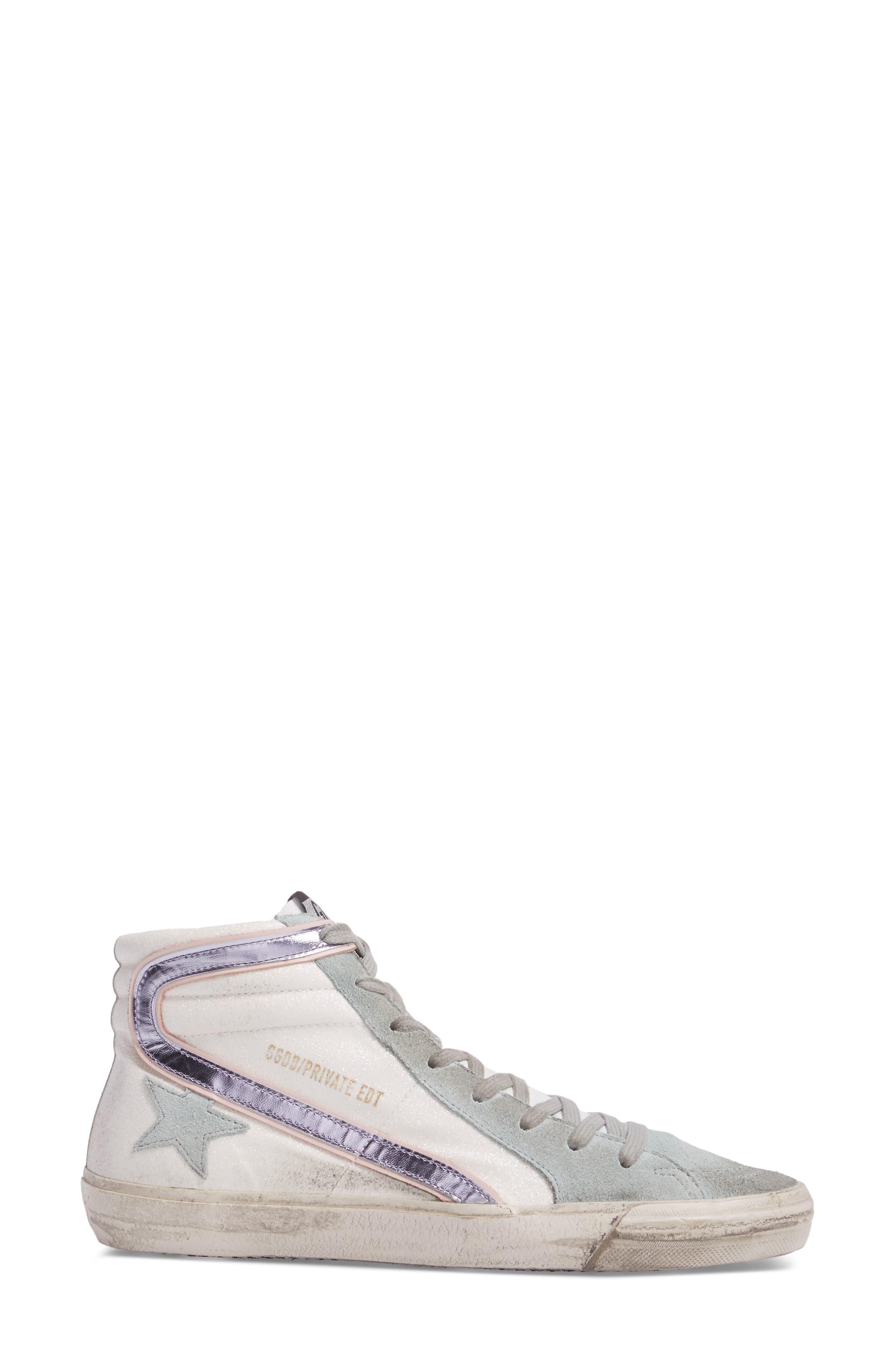 Slide High Top Sneaker,                             Alternate thumbnail 3, color,                             White/ Mint Green