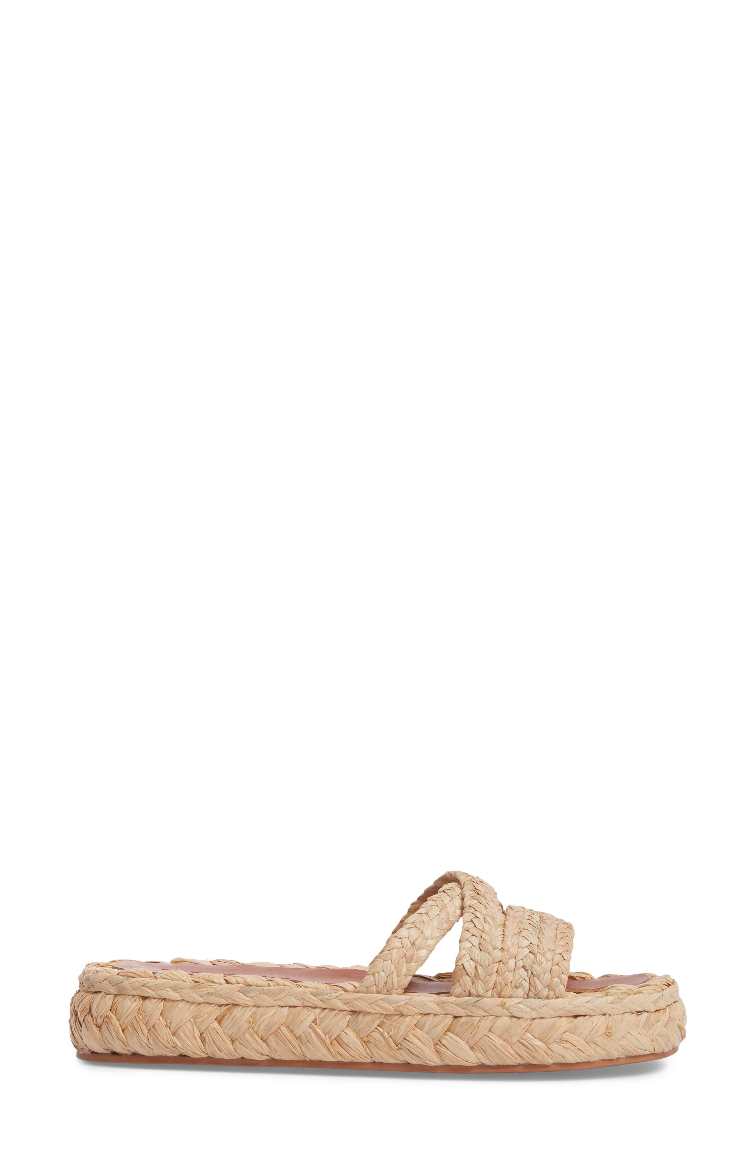 Idalie Woven Slide Sandal,                             Alternate thumbnail 3, color,                             Tan