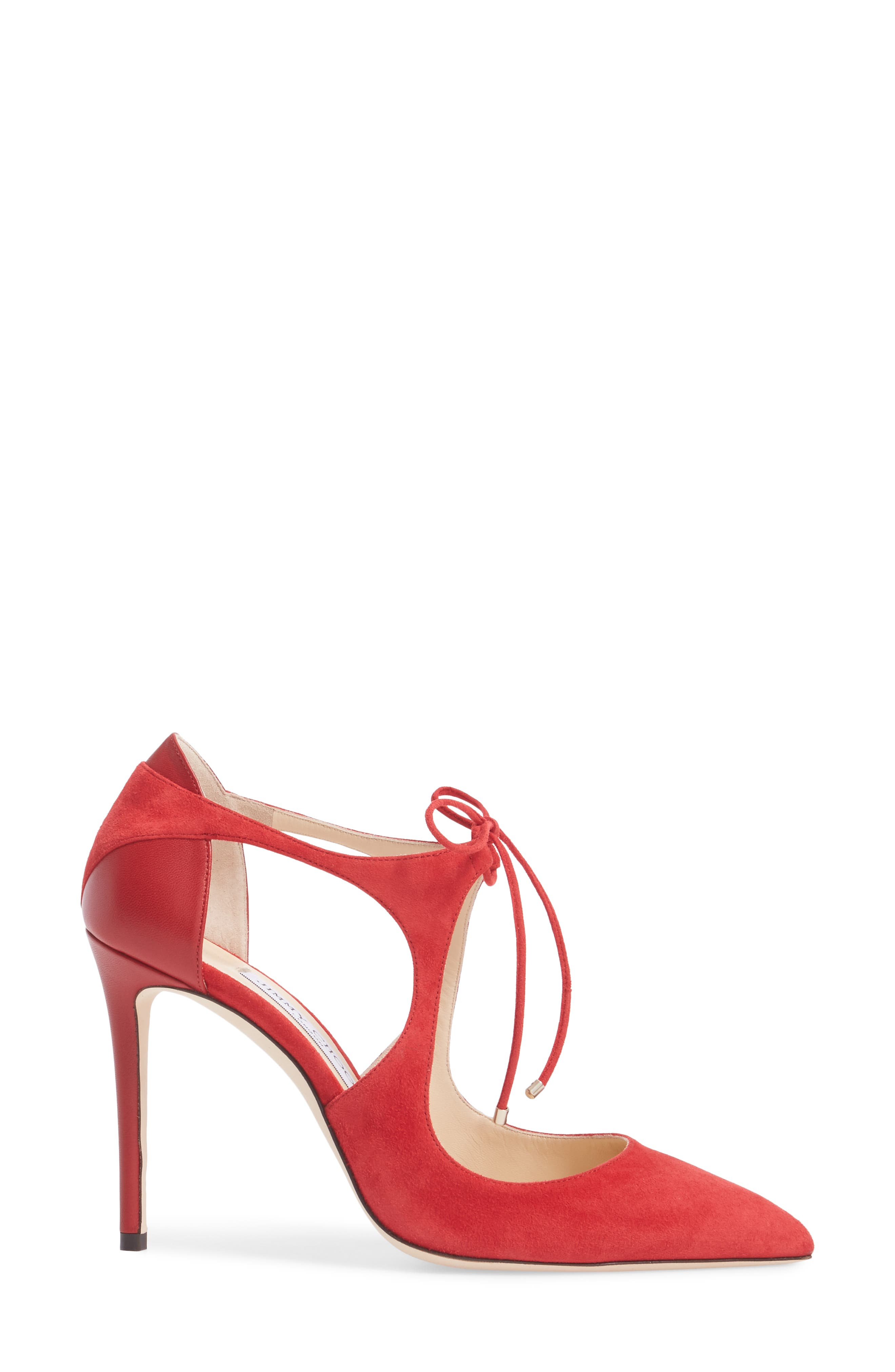 Vanessa Tie Front Pump,                             Alternate thumbnail 3, color,                             Red/ Red