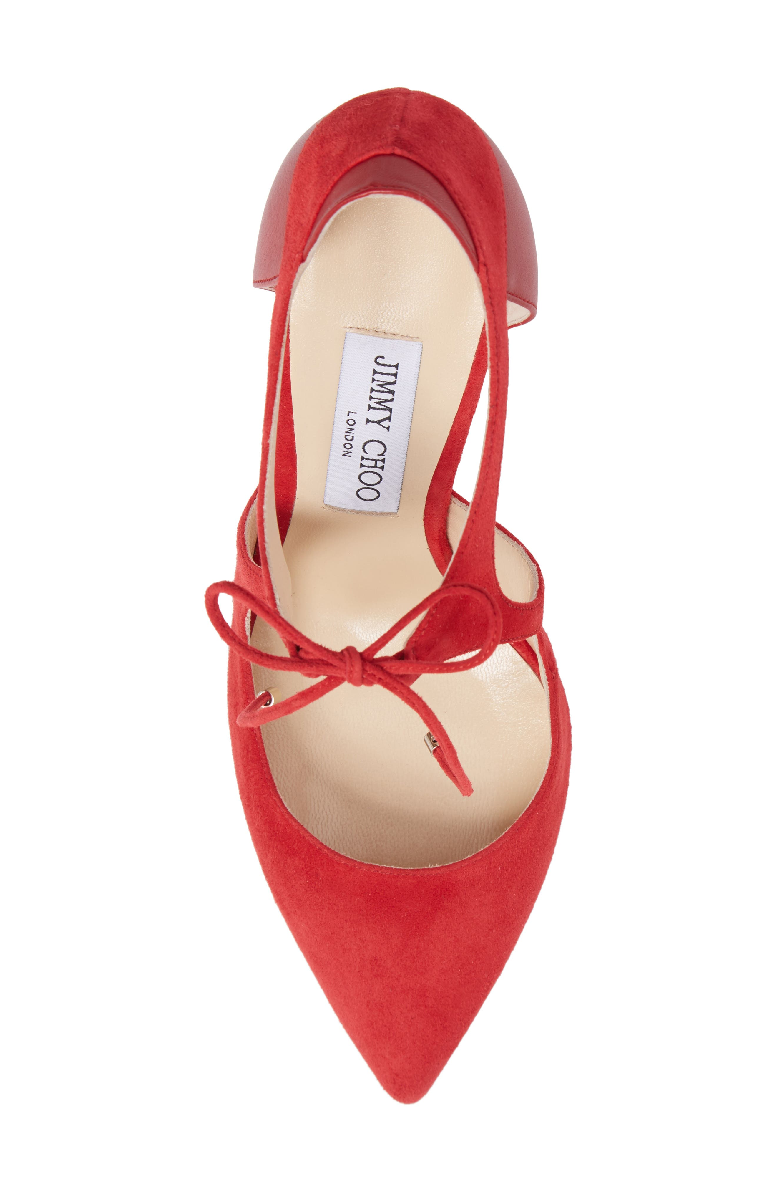 Vanessa Tie Front Pump,                             Alternate thumbnail 5, color,                             Red/ Red