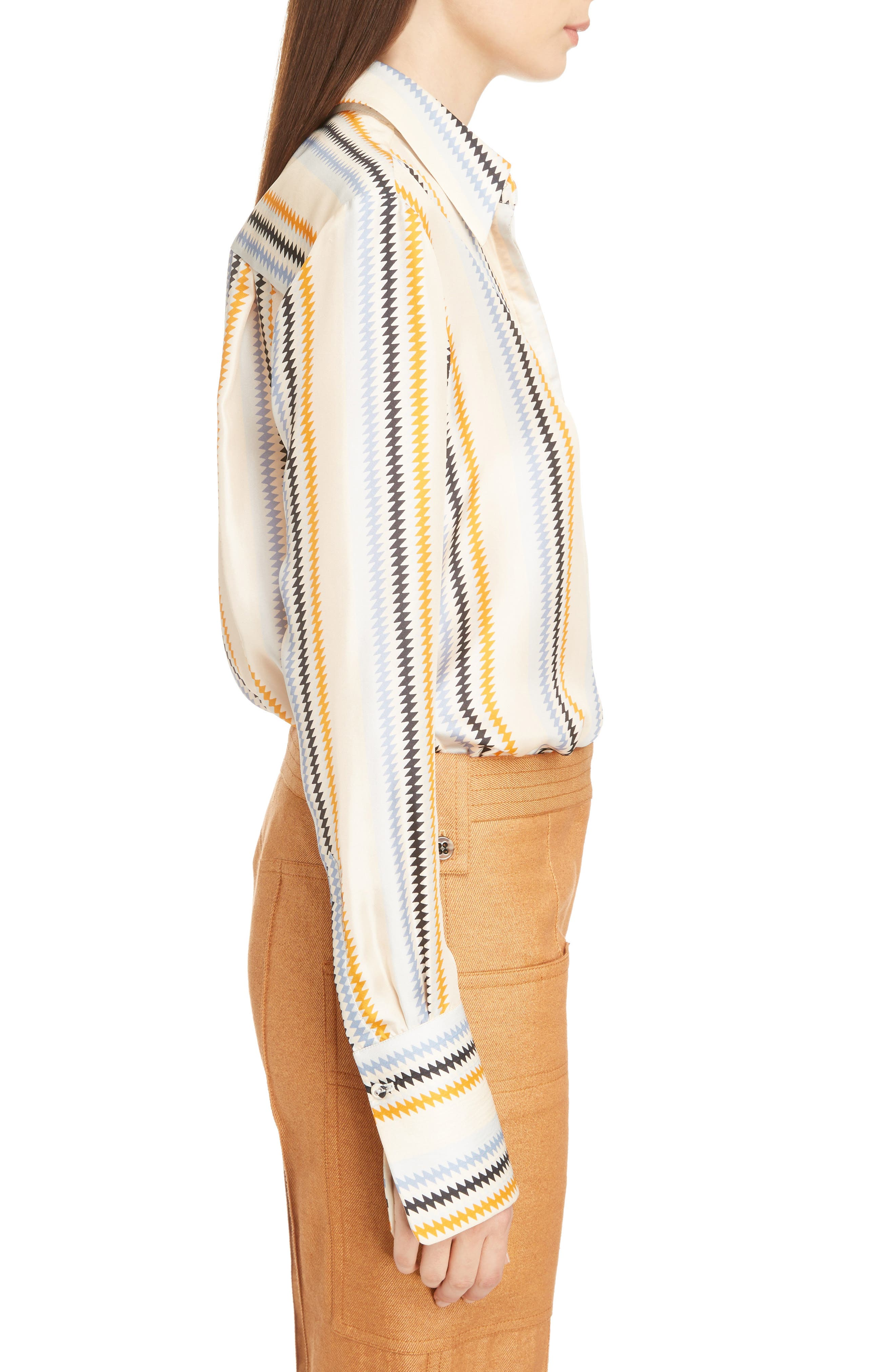 Fluid Stripe Silk Shirt,                             Alternate thumbnail 3, color,                             Zig Zag Stripe