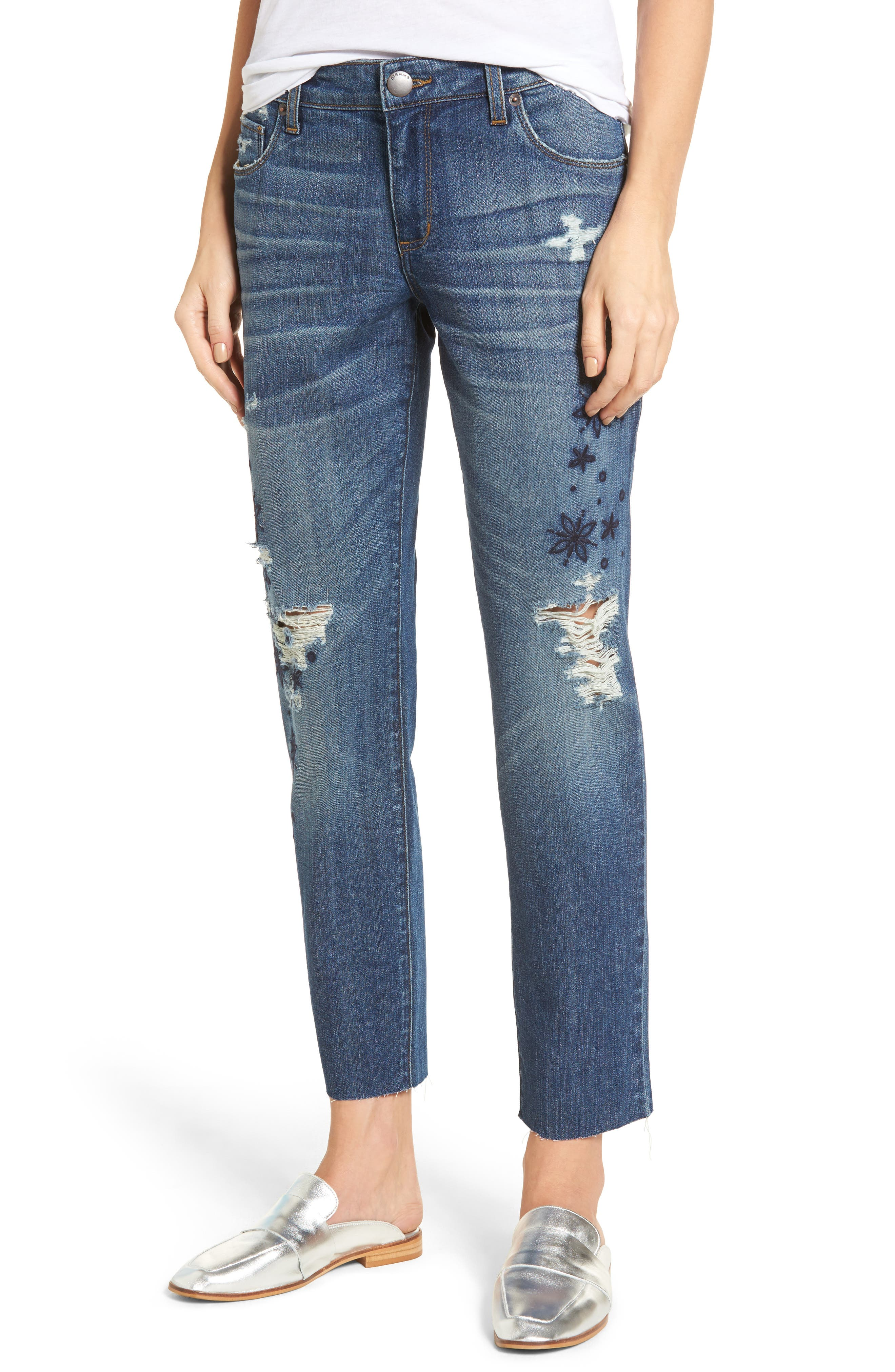 Taylor Ripped Embroidered Straight Leg Jeans,                             Main thumbnail 1, color,                             Rosedale