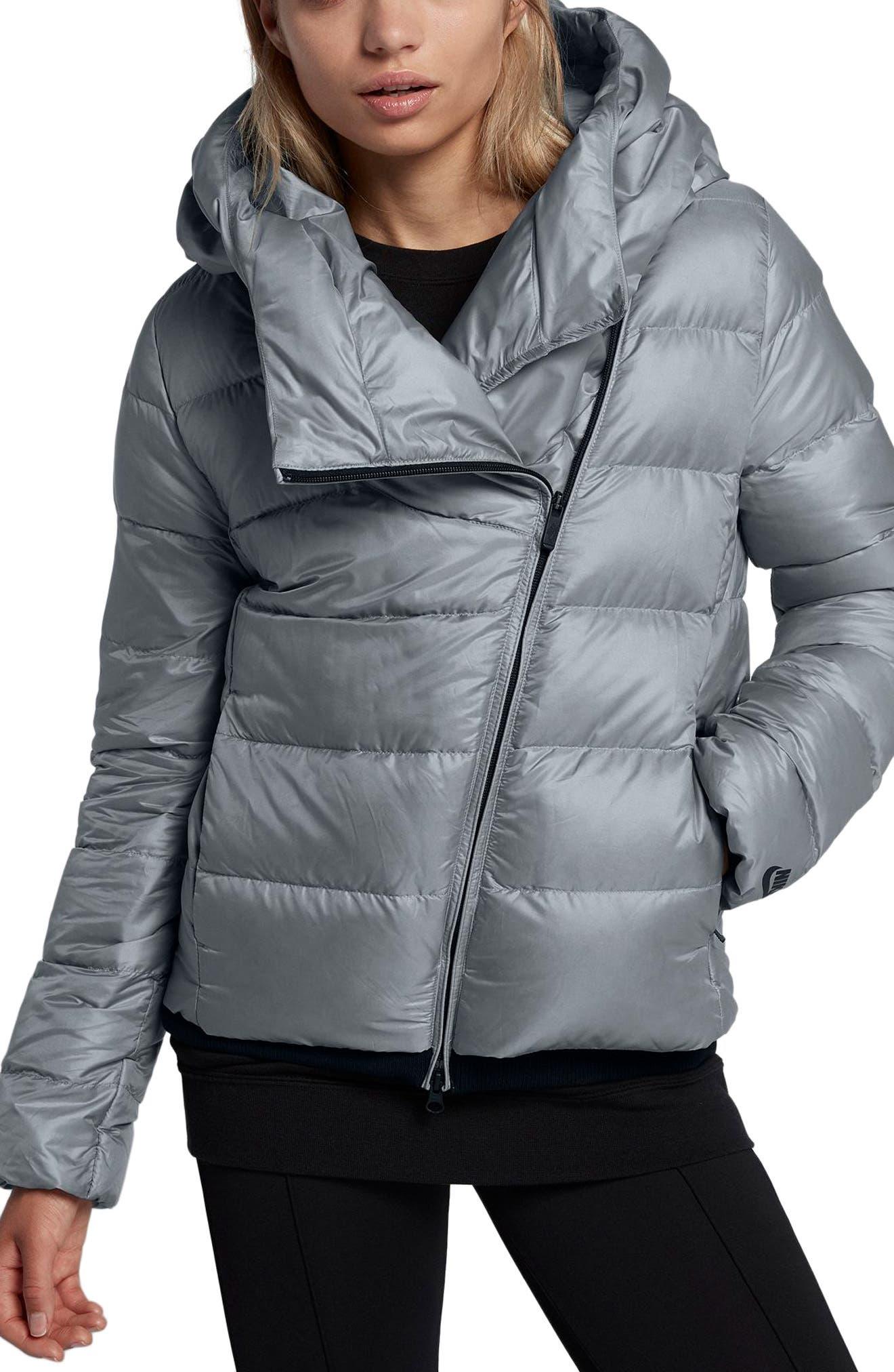 Sportswear Women's Hooded Down Jacket,                         Main,                         color, Cool Grey/ Black/ Black