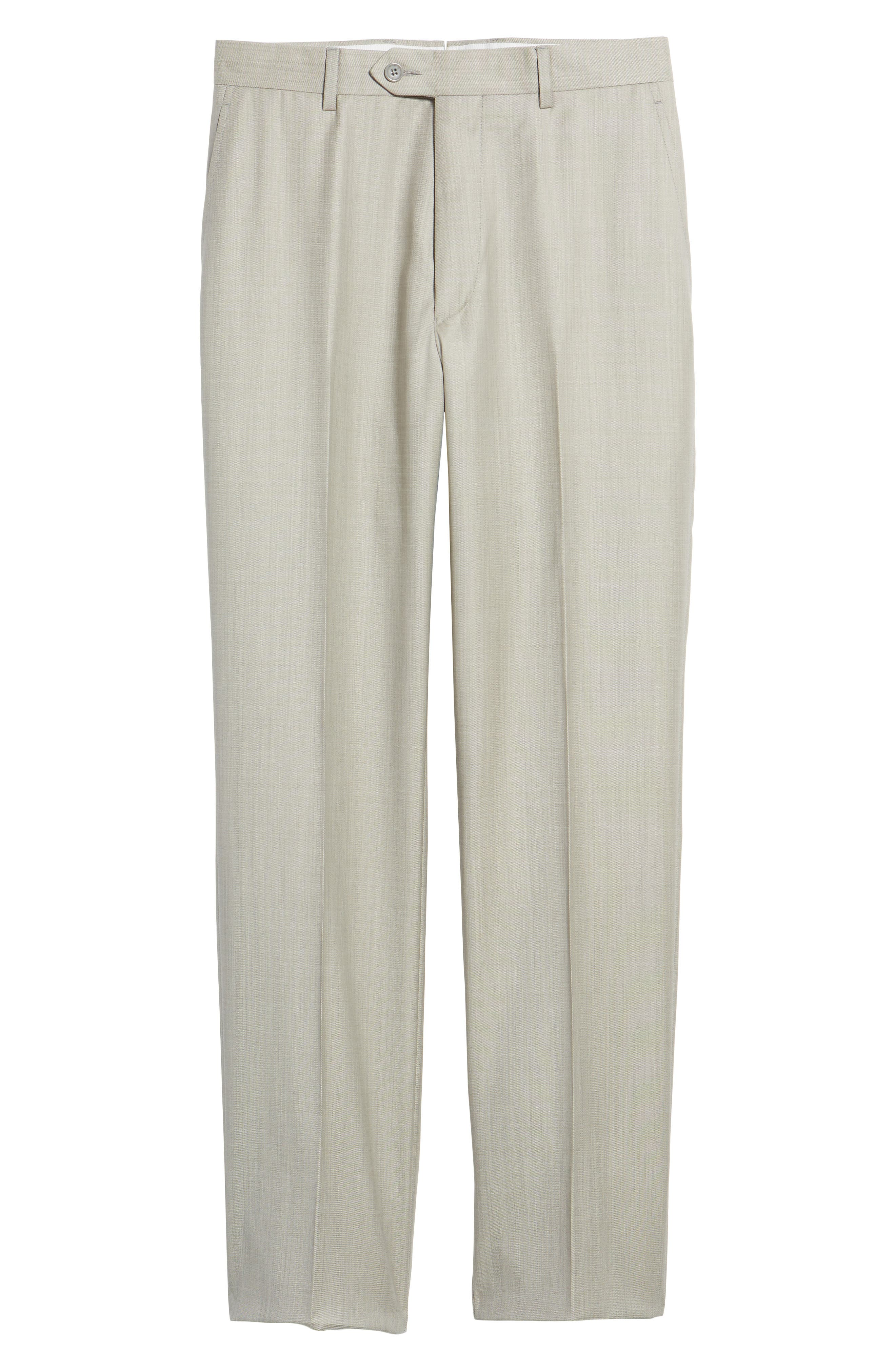 Flat Front Solid Wool Trousers,                             Alternate thumbnail 6, color,                             Sand