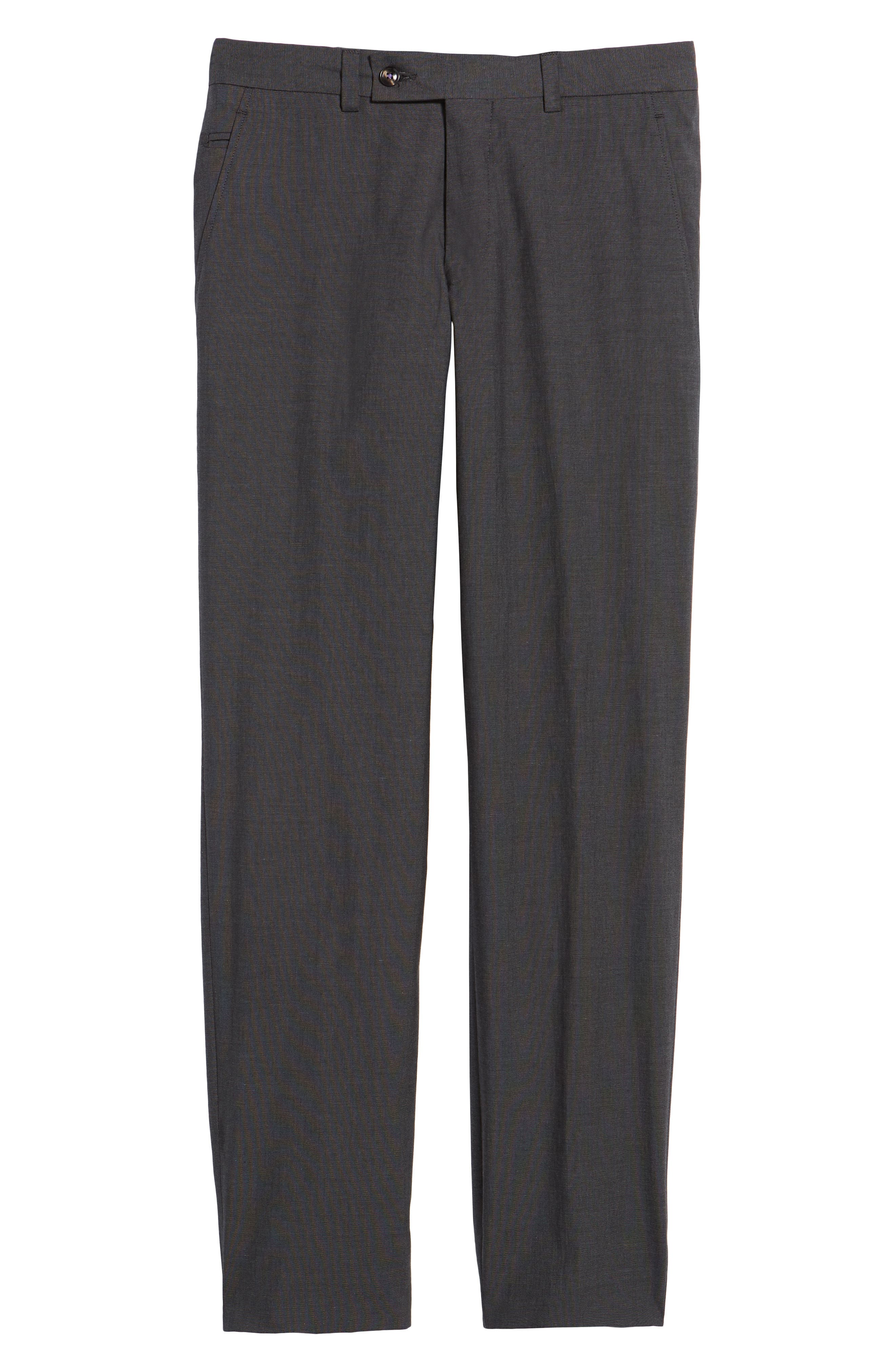Jerome Flat Front Stretch Solid Cotton Trousers,                             Alternate thumbnail 6, color,                             Charcoal