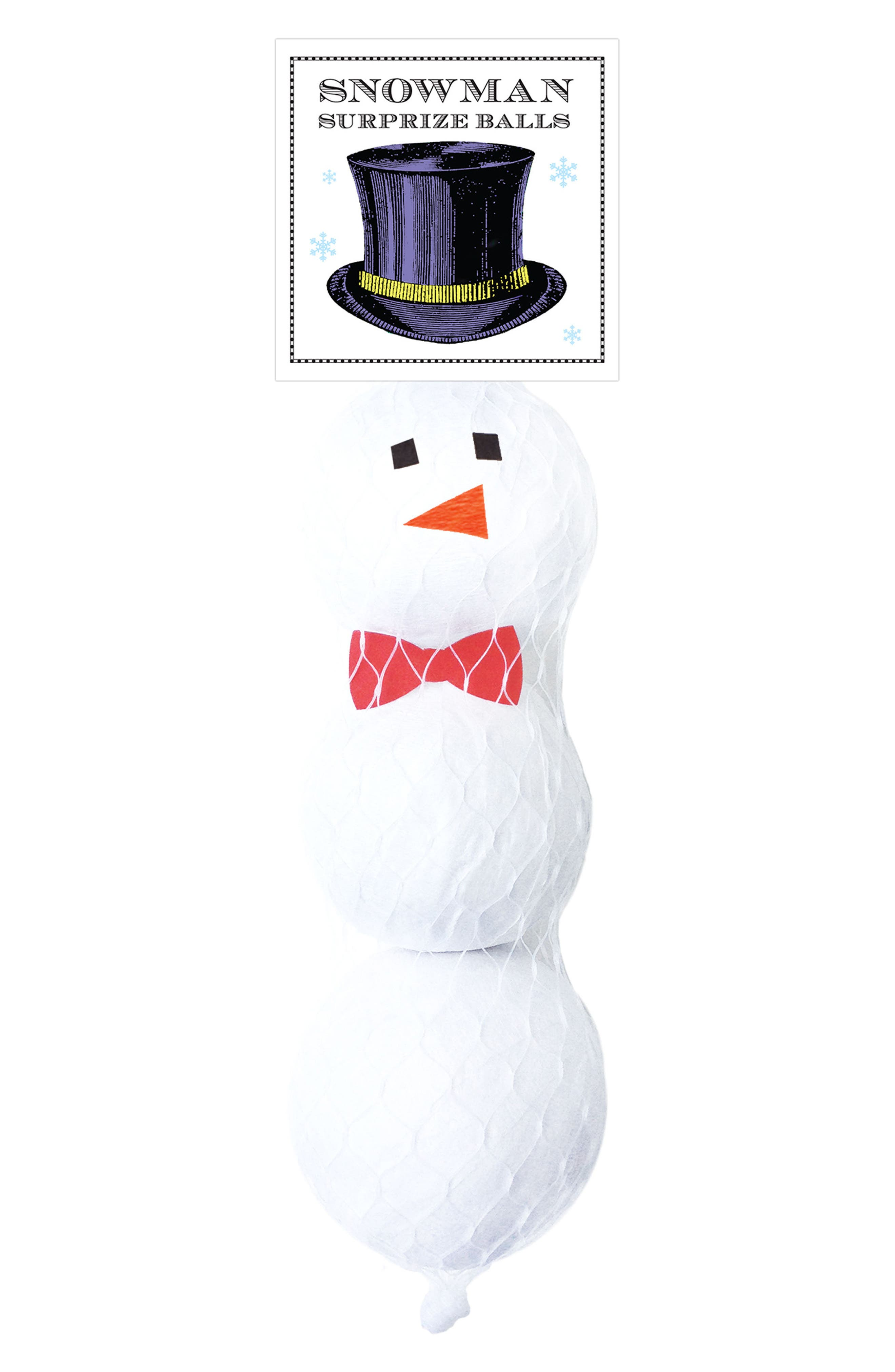 Tops Malibu 3-Piece Mini Surprize Balls Snowman Set