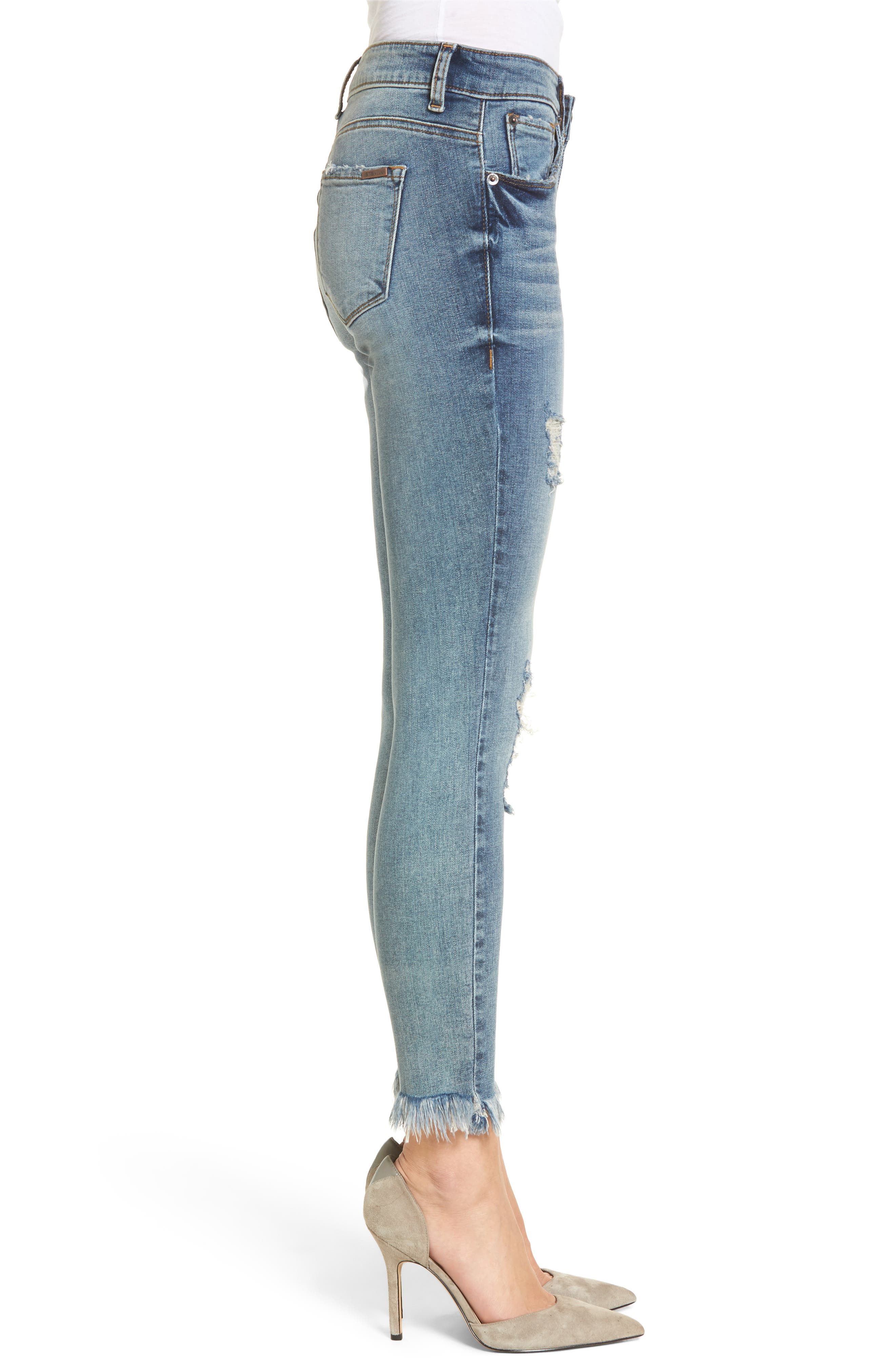 Exaggerated Hem Skinny Jeans,                             Alternate thumbnail 3, color,                             North Canfield