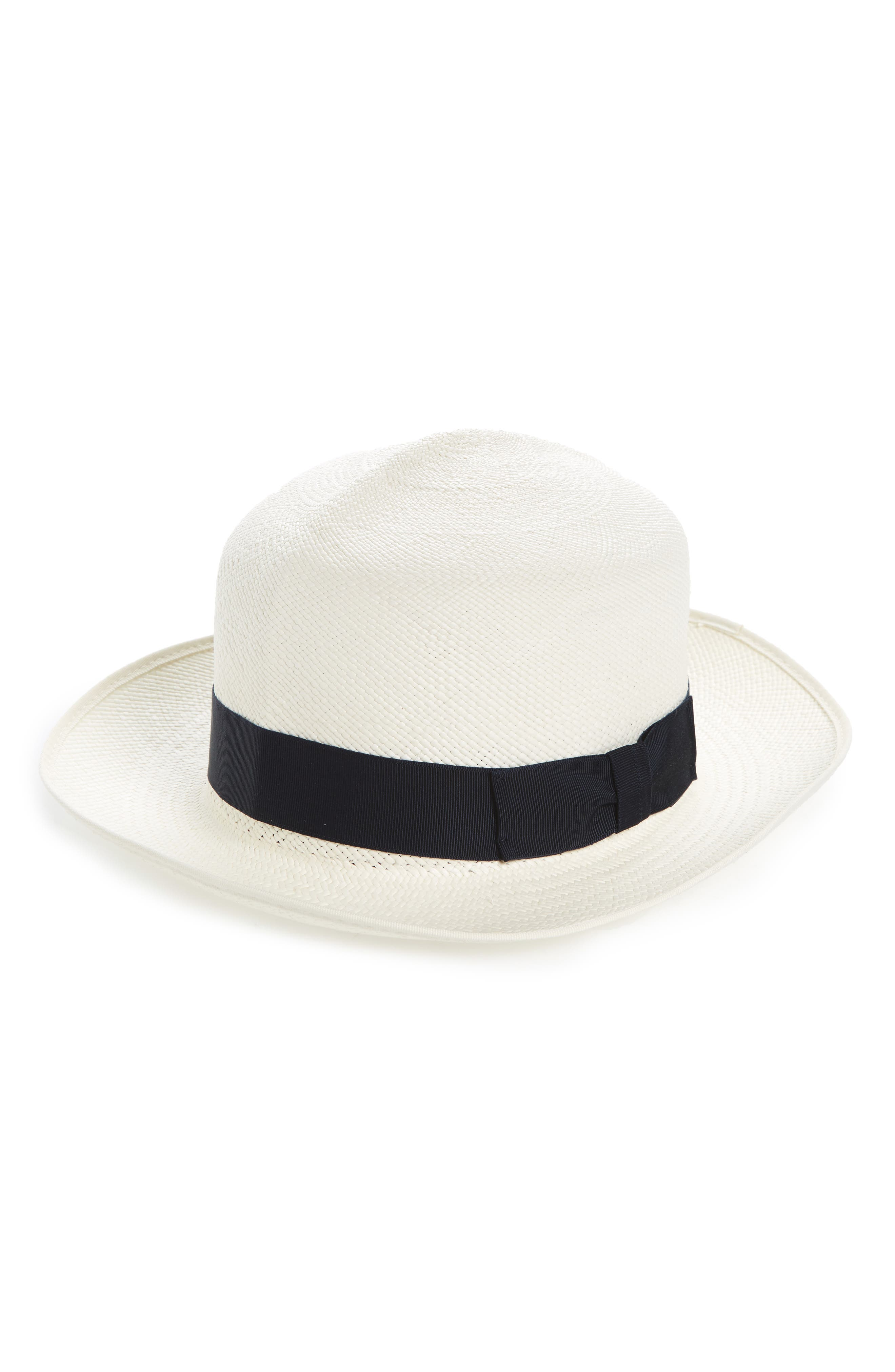 Christy's Hats Folder Straw Panama Hat,                         Main,                         color, Bleached Navy W/ Cream Band