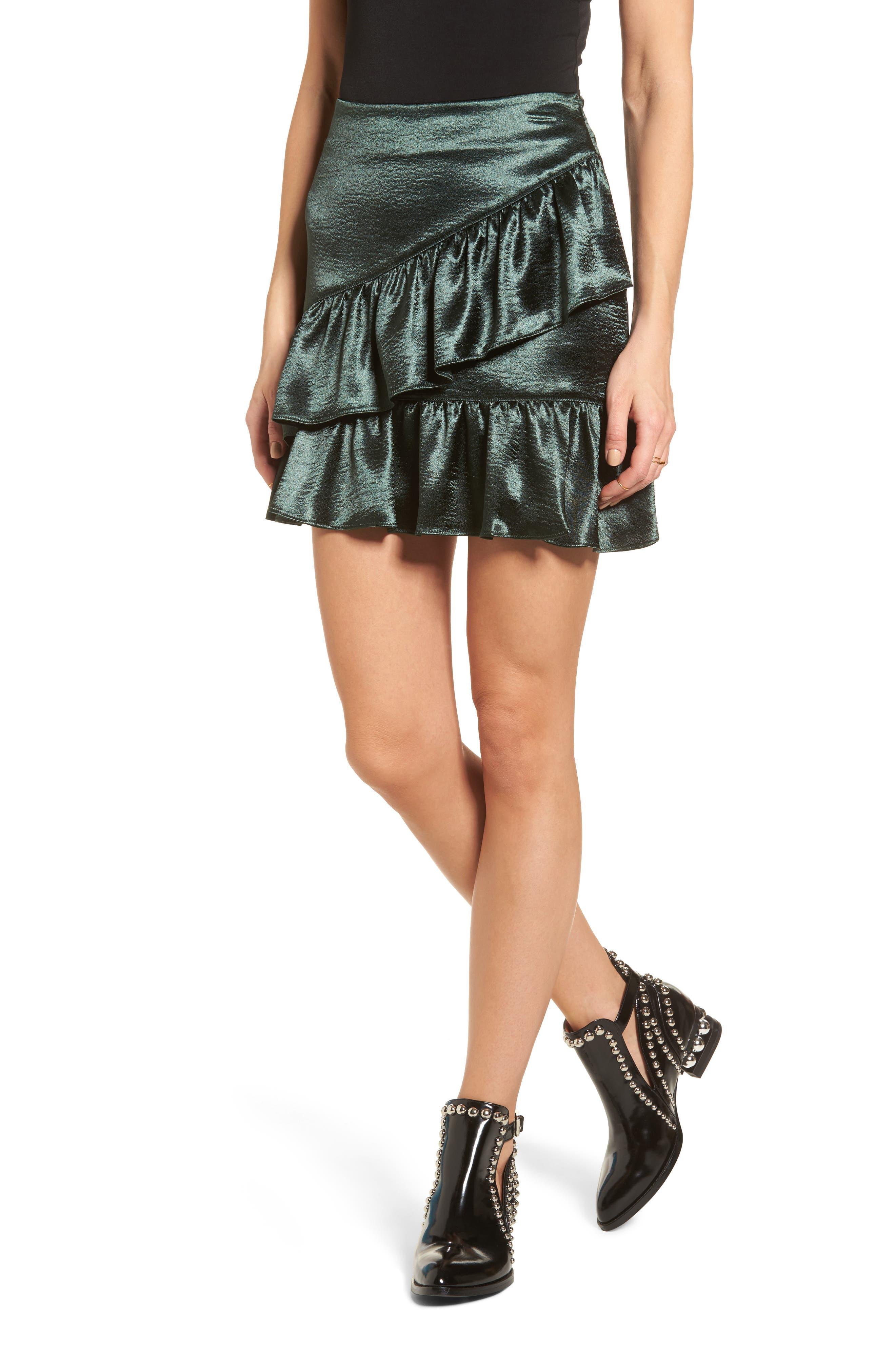 Jameson Ruffle Satin Skirt,                         Main,                         color, Green
